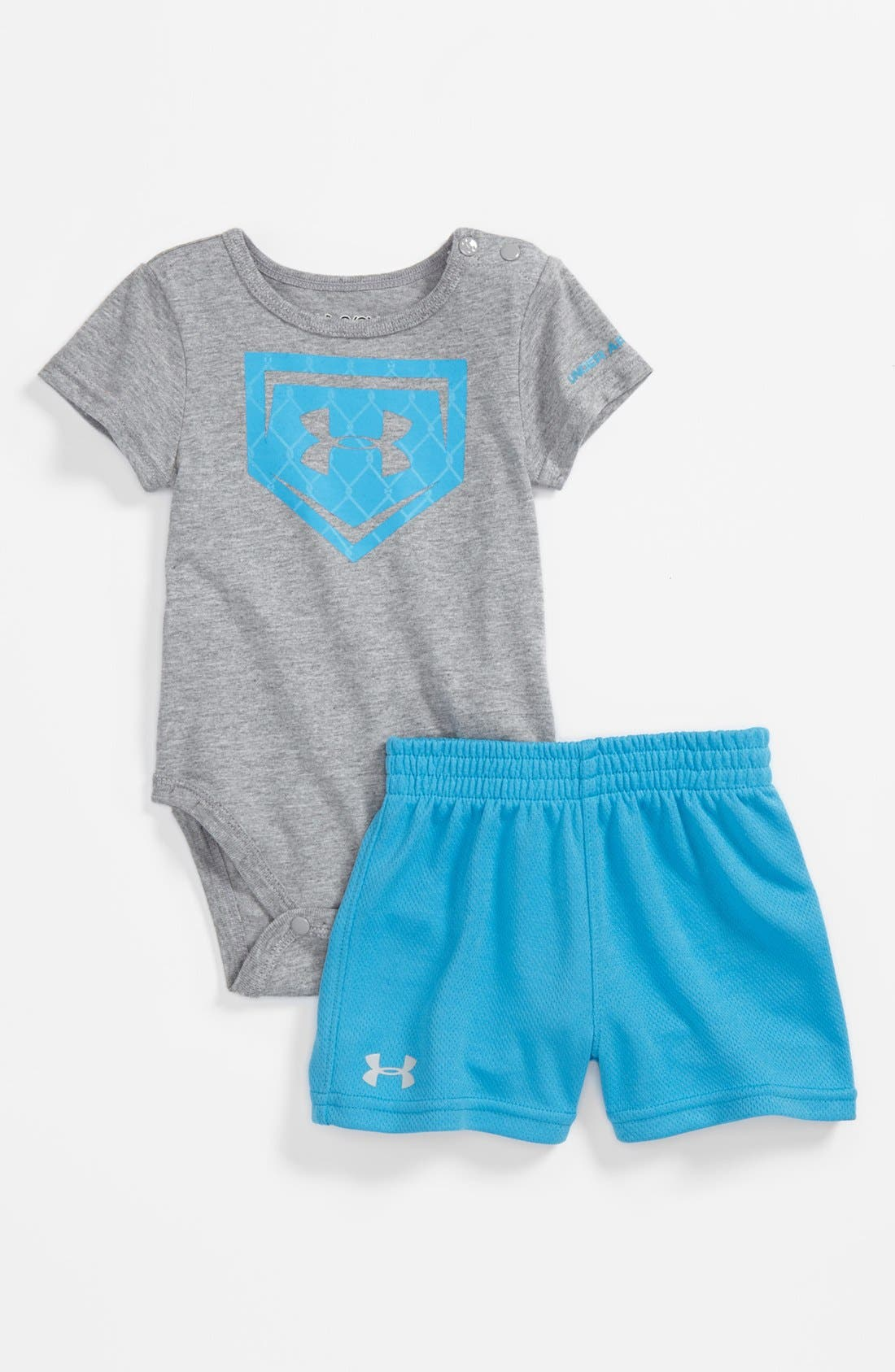 Main Image - Under Armour 'Chainlink Icon' Bodysuit & Shorts (Baby Boys)