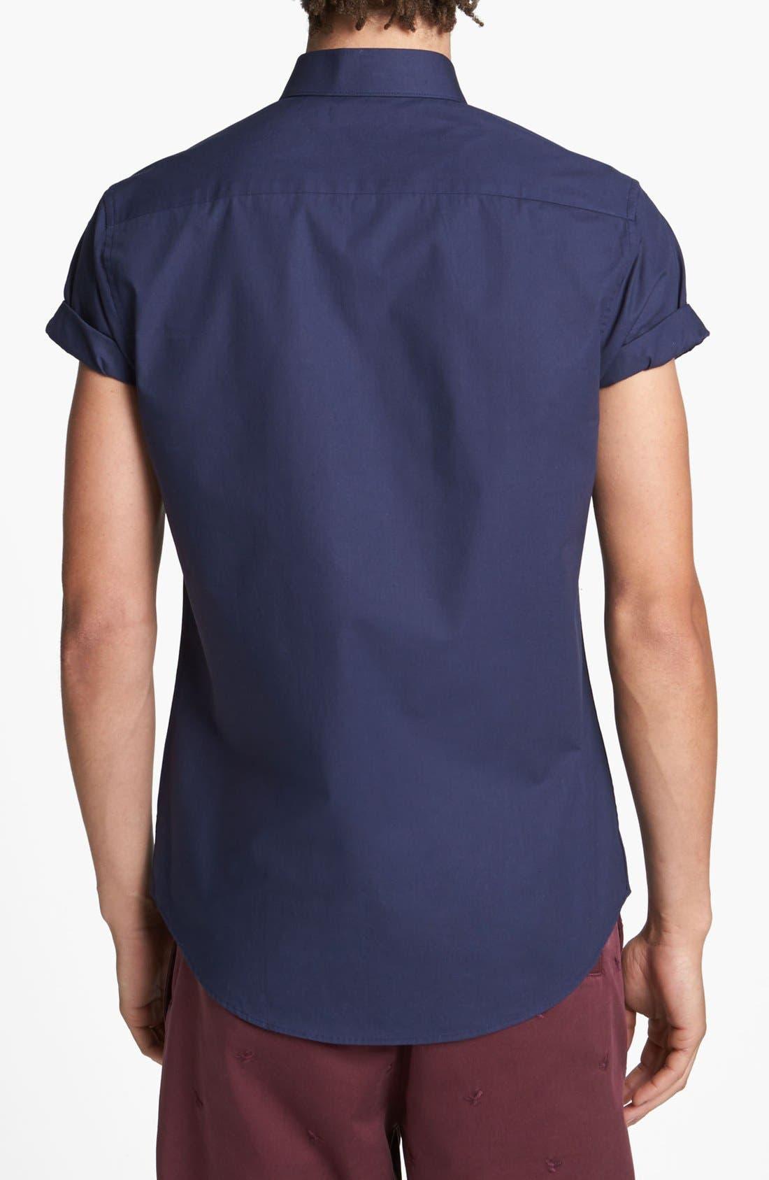 Alternate Image 2  - Topman Short Sleeve Cotton Shirt