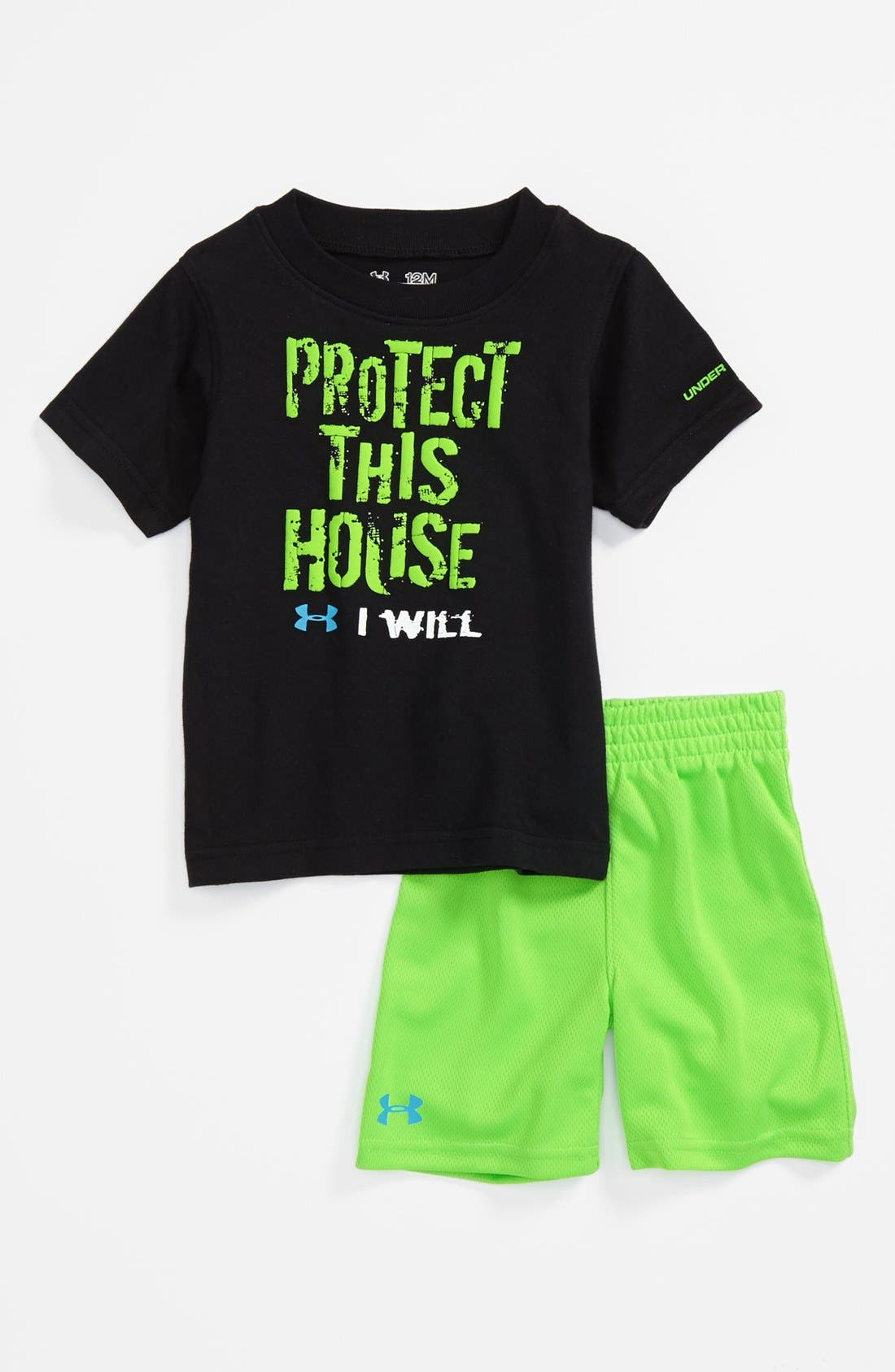 Alternate Image 1 Selected - Under Armour 'Protect This House' T-Shirt & Shorts (Baby Boys)