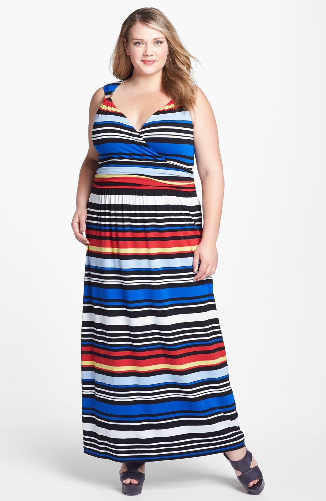 Alternate Image 1 Selected - Vince Camuto Bright Stripe Maxi Dress (Plus Size) (Online Only)