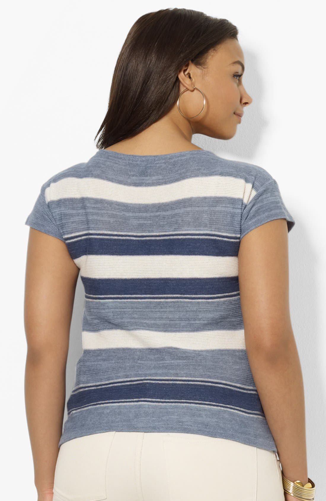 Alternate Image 2  - Lauren Ralph Lauren Boatneck Cotton & Linen Tee (Plus Size)