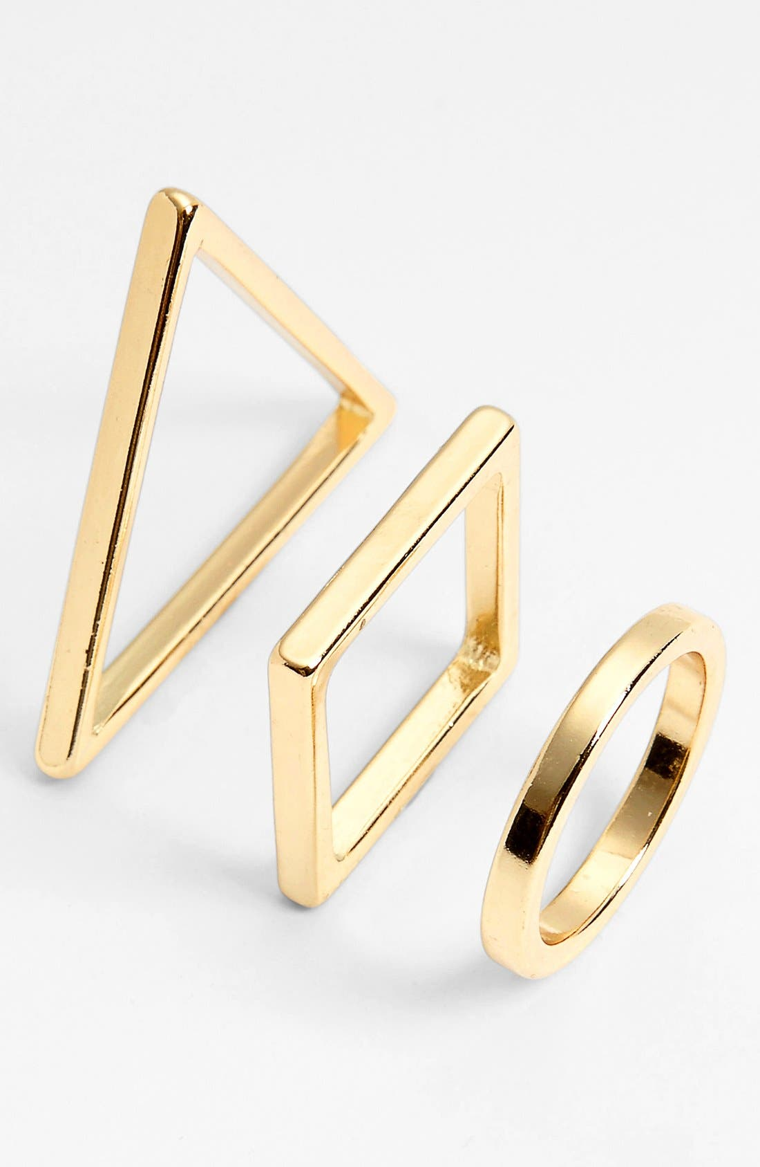 Alternate Image 1 Selected - Carole Geometric Rings (Set of 3) (Juniors)