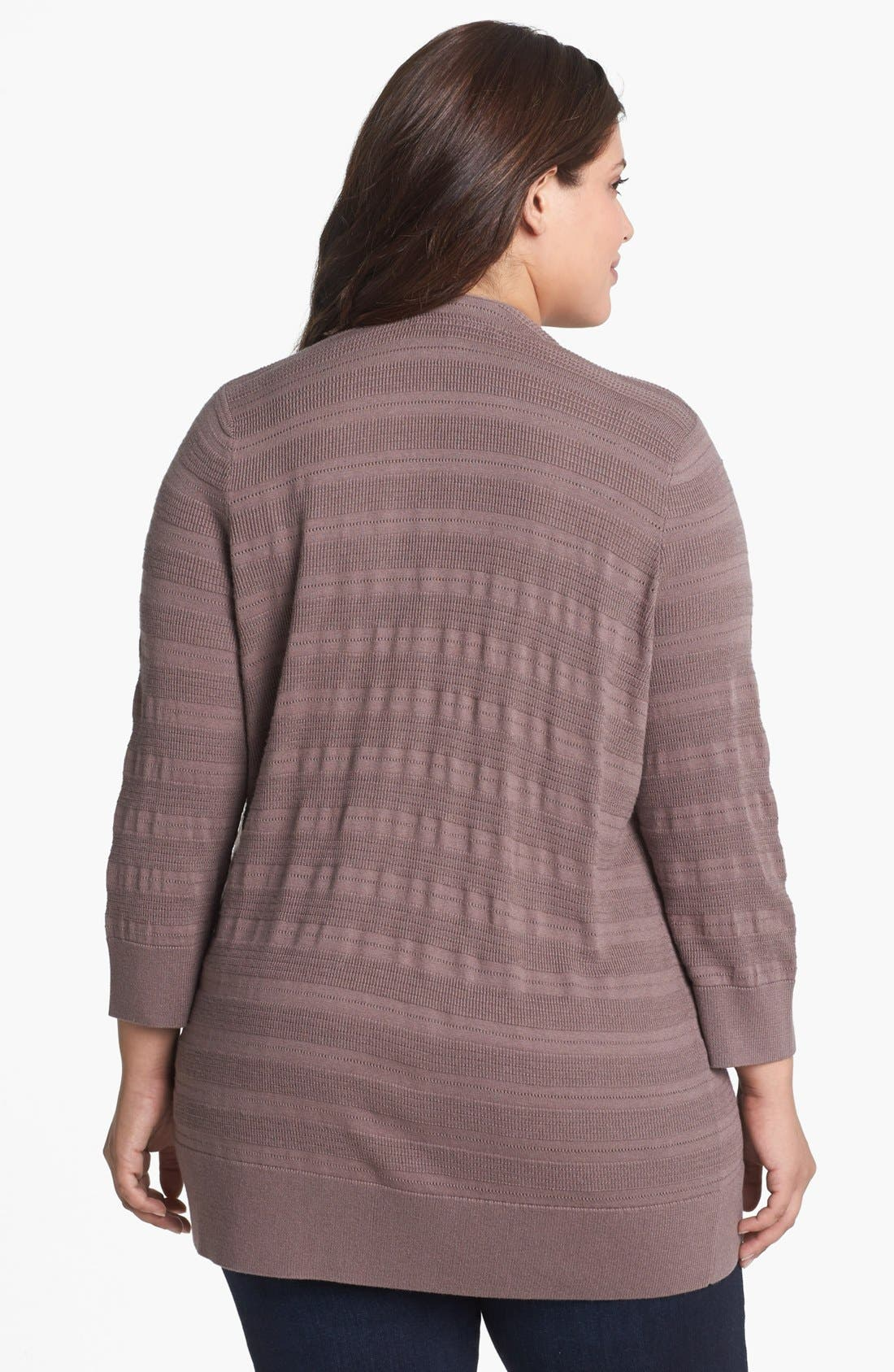 Alternate Image 2  - Sejour Novelty Stitch Cardigan (Plus Size)