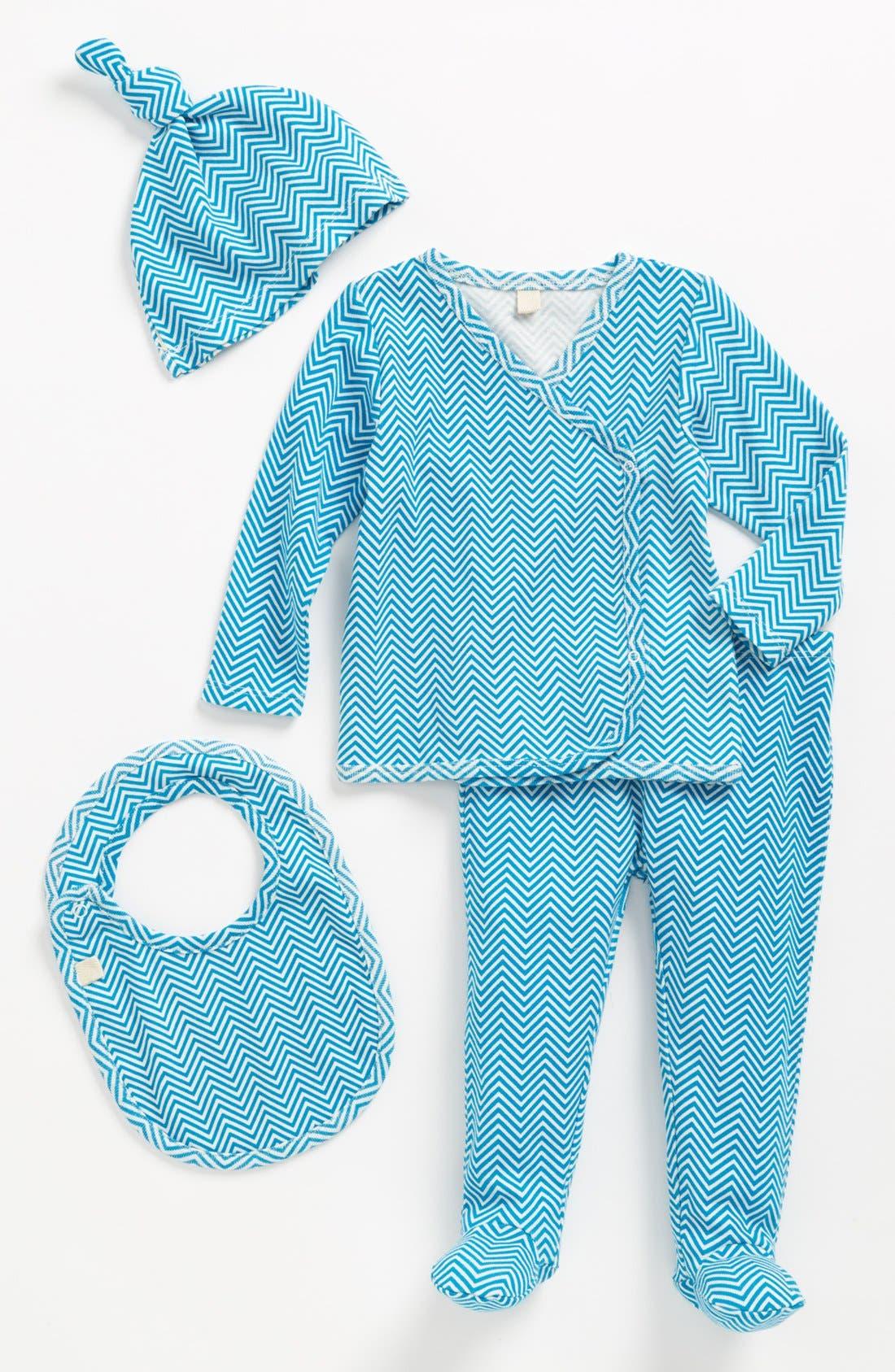 Main Image - Stem Baby Organic Cotton Chevron Print Shirt, Pants, Hat & Bib (Baby Boys)