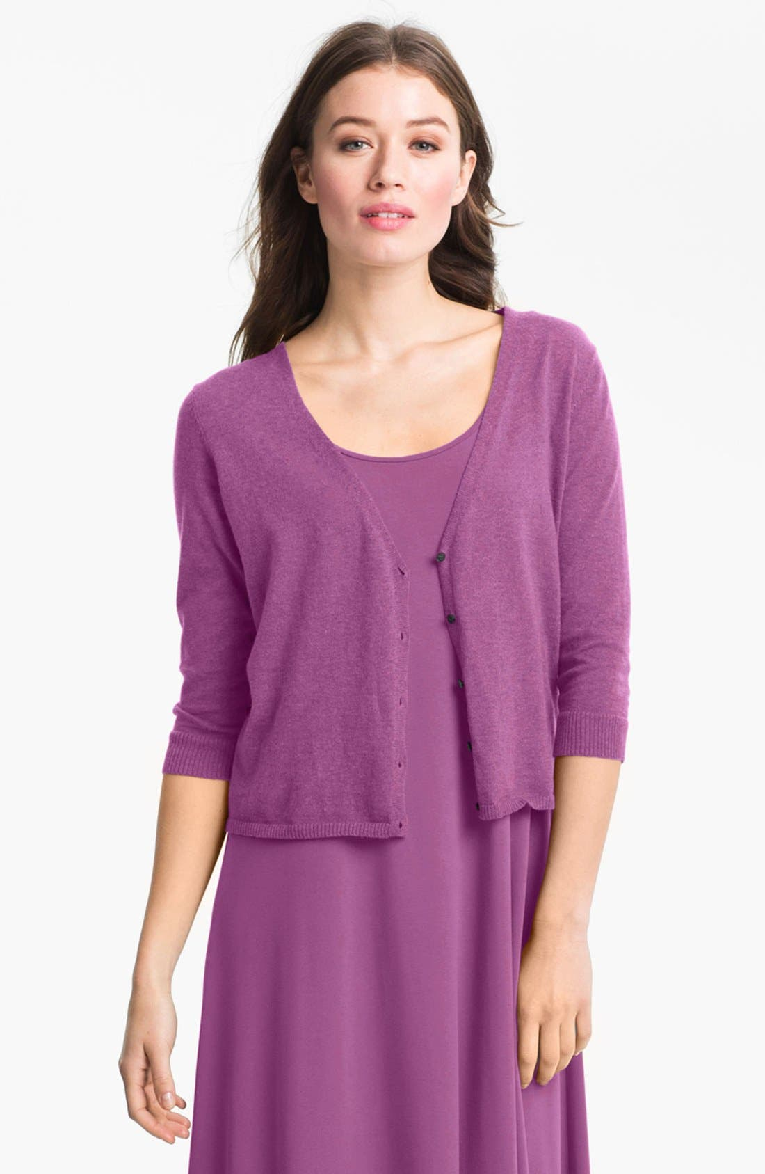 Alternate Image 1 Selected - Eileen Fisher Organic Cotton & Cashmere Crop Cardigan (Petite)