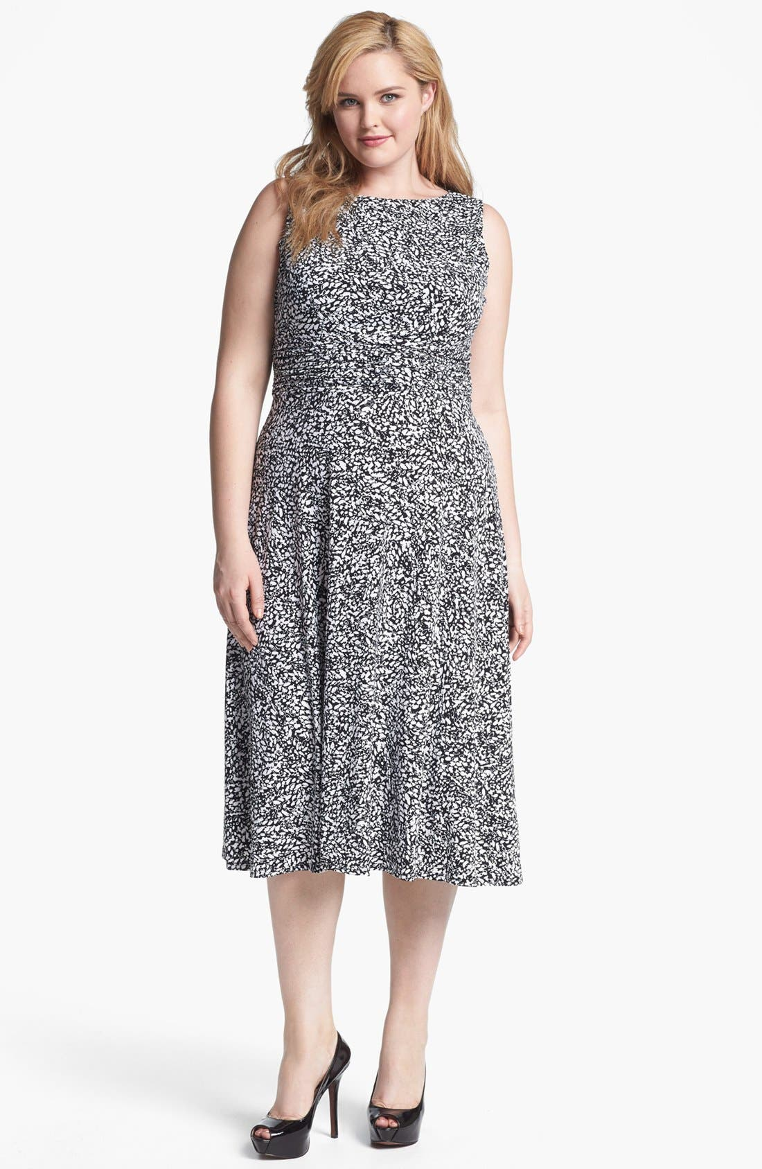Main Image - Jessica Howard Print Sleeveless Jersey Dress (Plus Size)