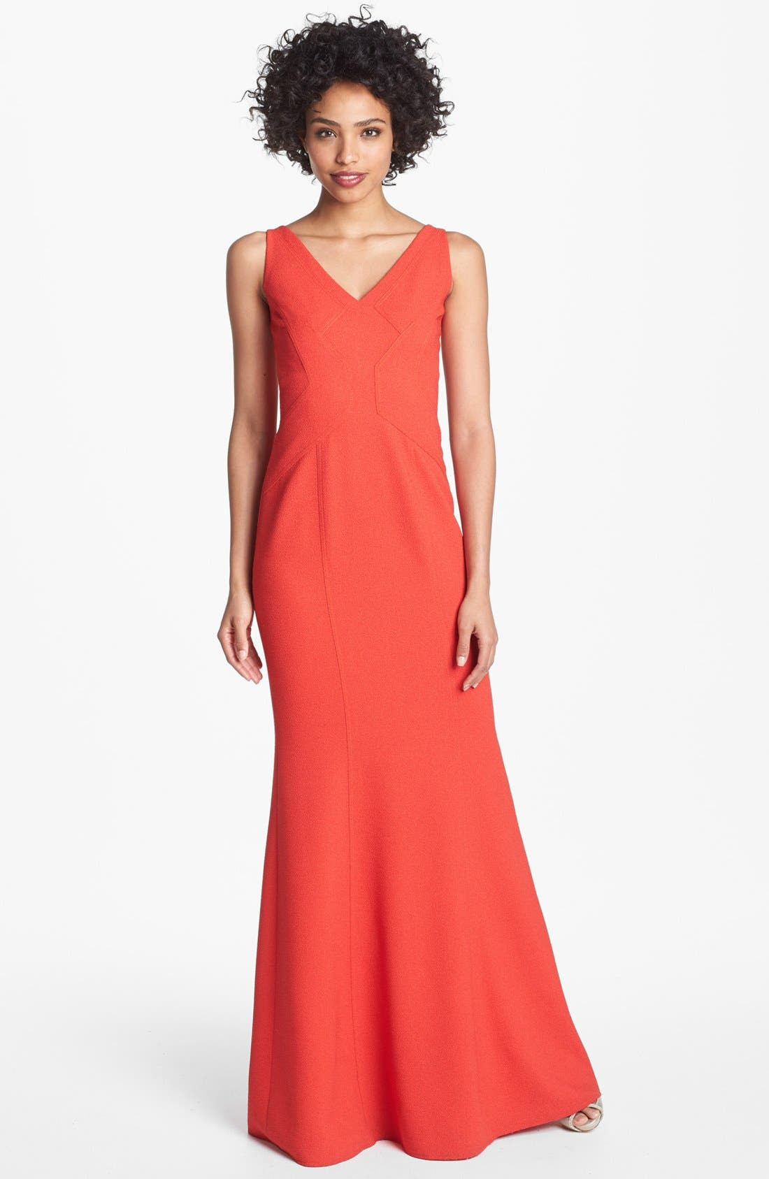 Alternate Image 1 Selected - David Meister Seamed Crepe Trumpet Dress
