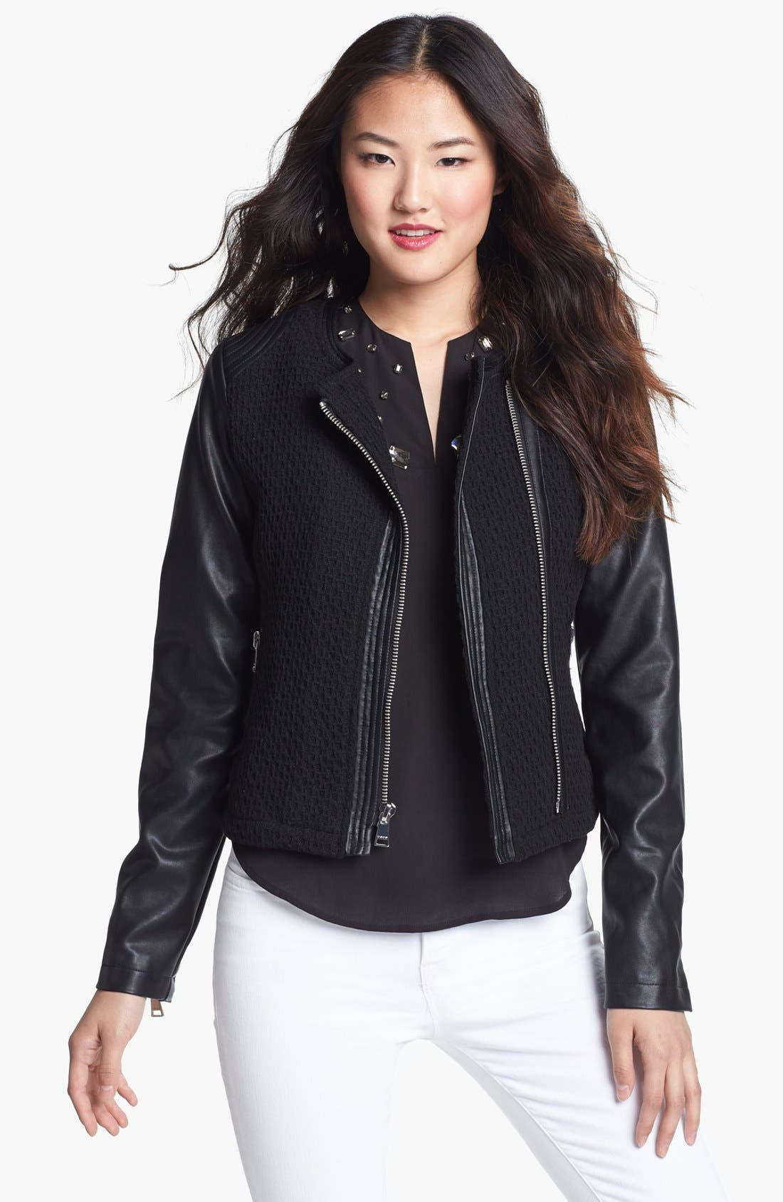 Main Image - bebe Collarless Wool Blend & Faux Leather Jacket