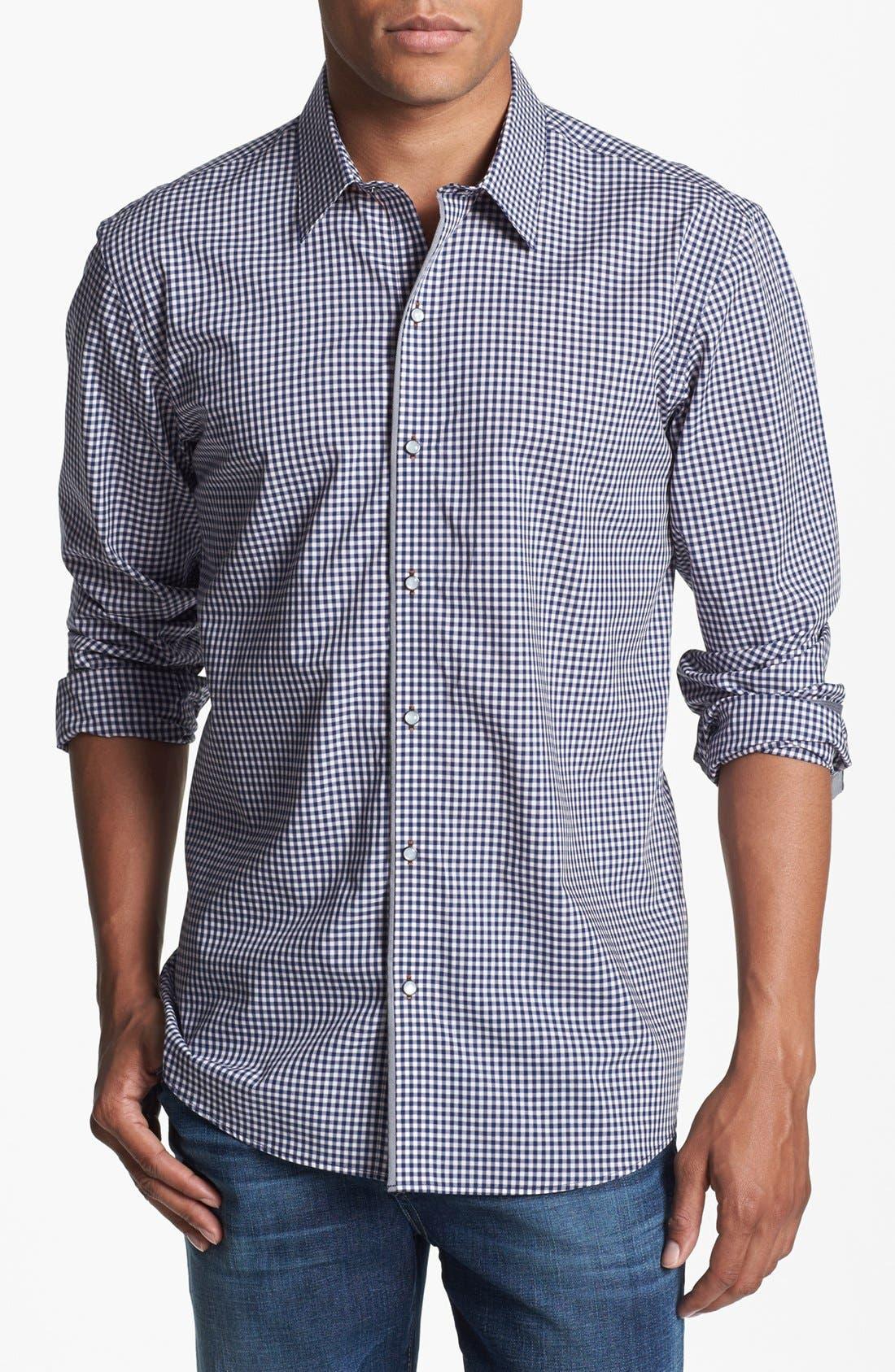 Alternate Image 1 Selected - 7 Diamonds 'Good Time' Gingham Trim Fit Cotton Sport Shirt