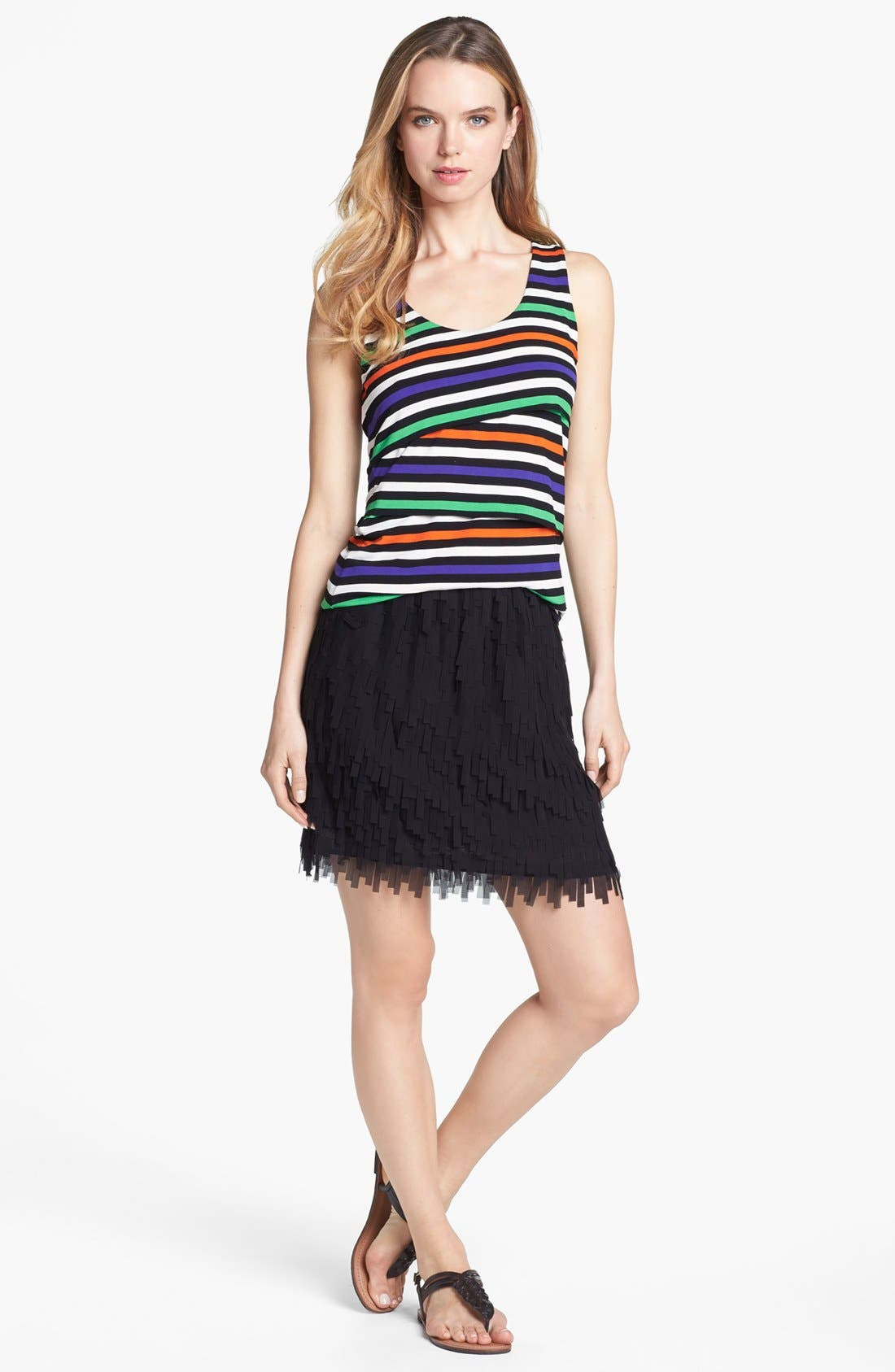 Alternate Image 4  - Vince Camuto Variegated Stripe Tiered Tank