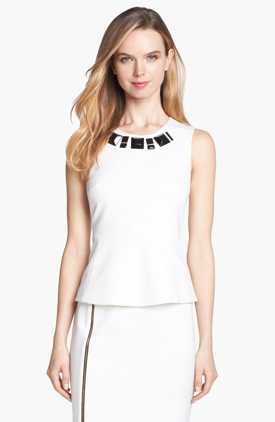 Main Image - Vince Camuto Embellished Neck Peplum Top