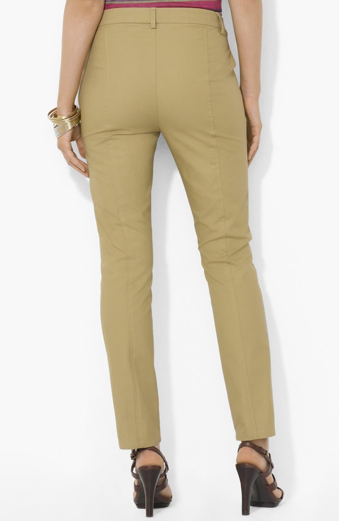 Alternate Image 2  - Lauren Ralph Lauren Slim Twill Pants (Petite)