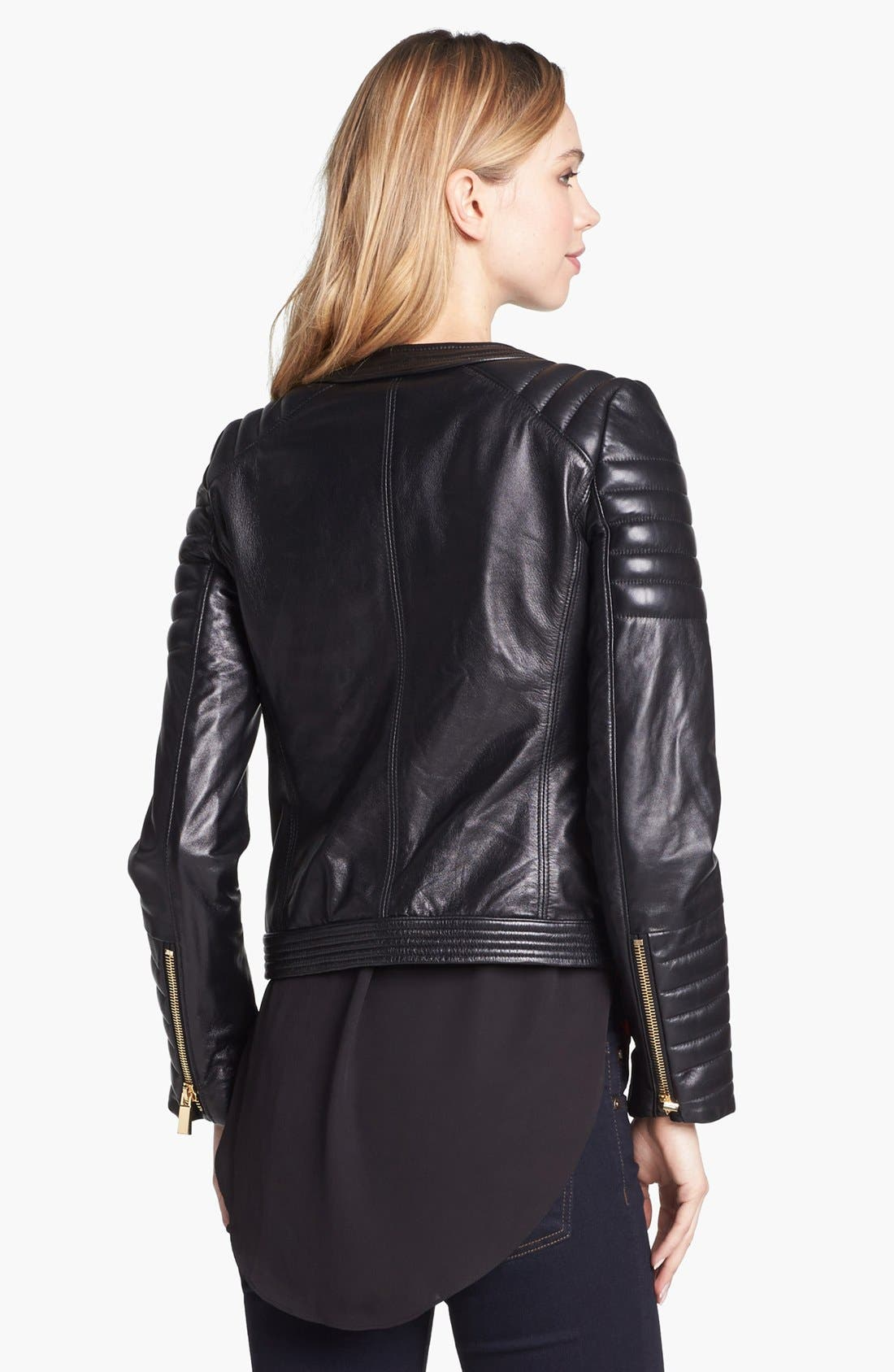 Alternate Image 3  - Vince Camuto Trapunto Quilted Leather Moto Jacket