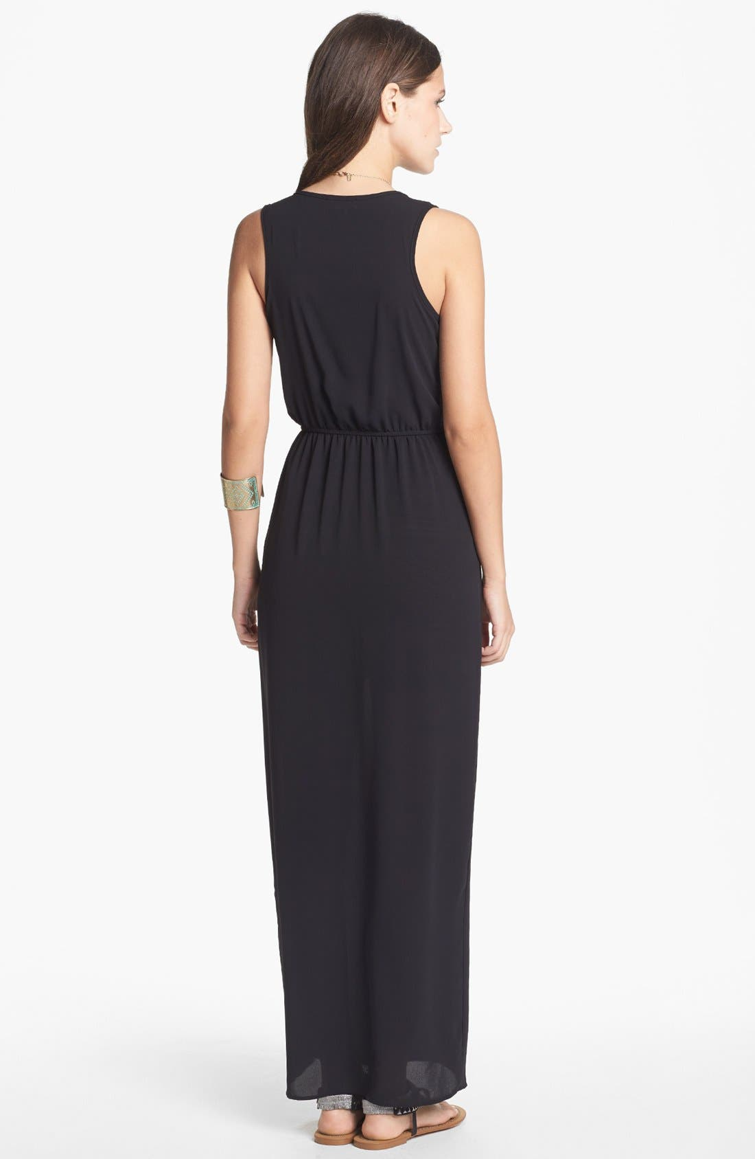 Alternate Image 2  - dee elle Side Slit Maxi Dress with Skirt (Juniors) (Online Only)
