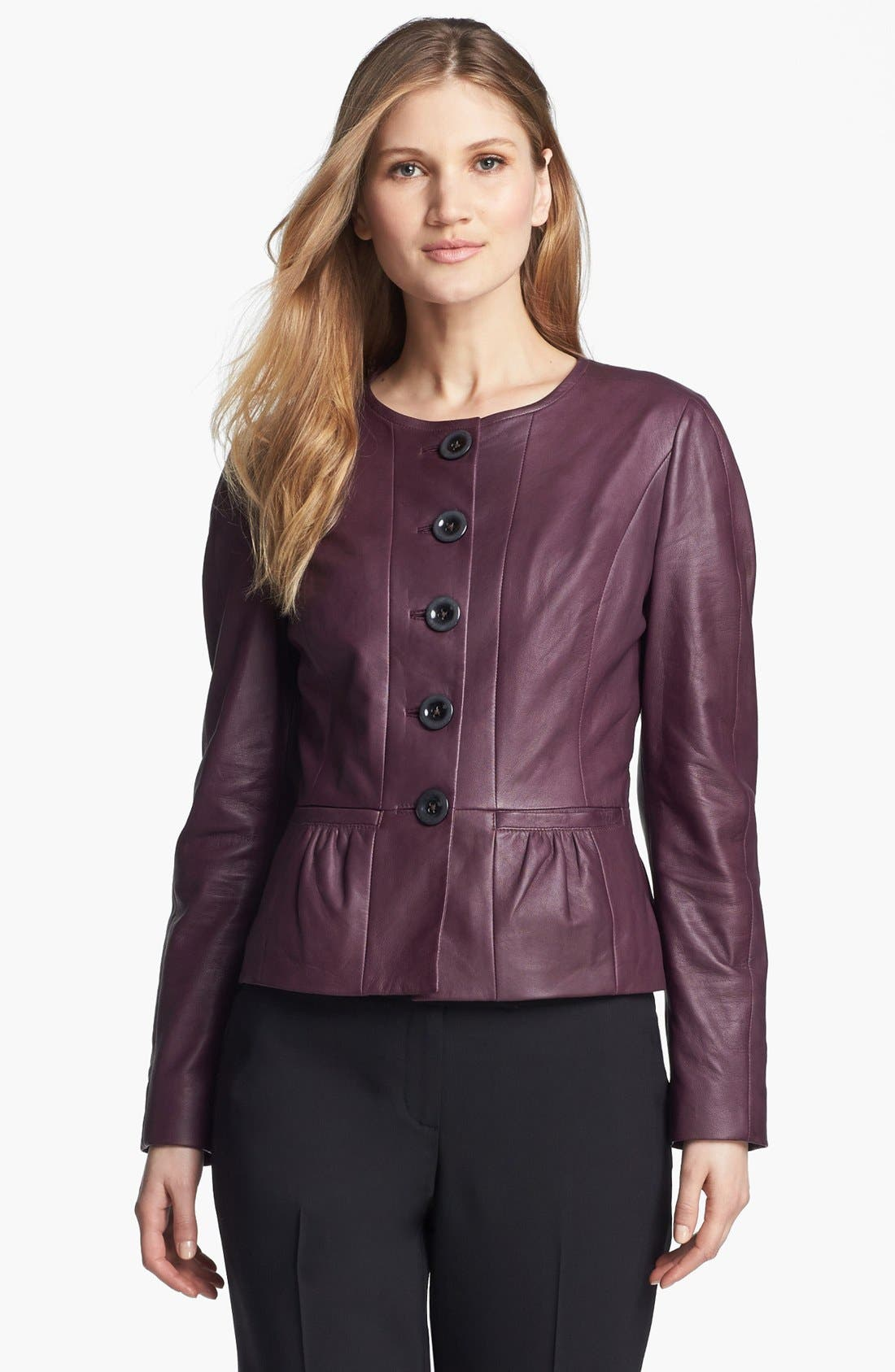 Alternate Image 1 Selected - Classiques Entier® 'Lamb Moss' Collarless Leather Jacket