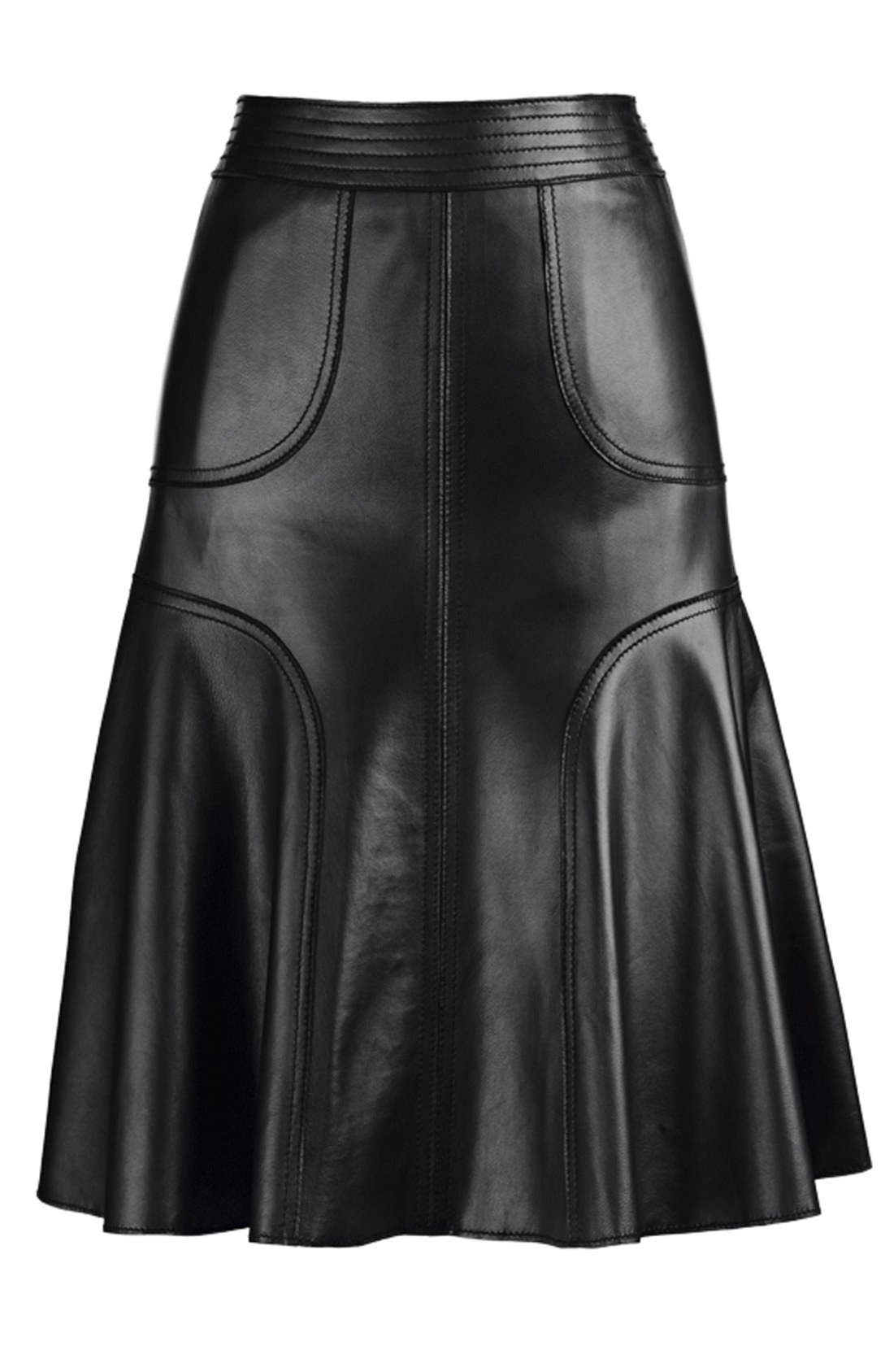 Alternate Image 8  - Halogen® Leather A-Line Skirt