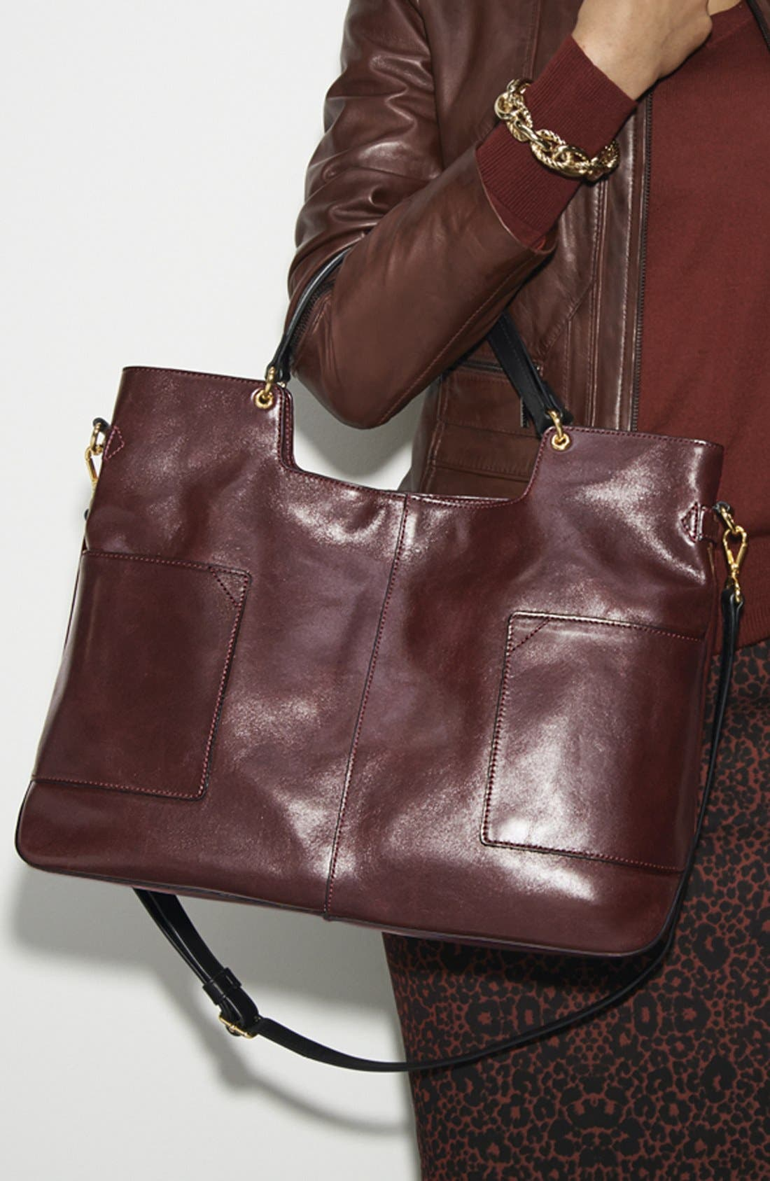 Alternate Image 2  - IIIBeCa by Joy Gryson Leather Shopper, Large