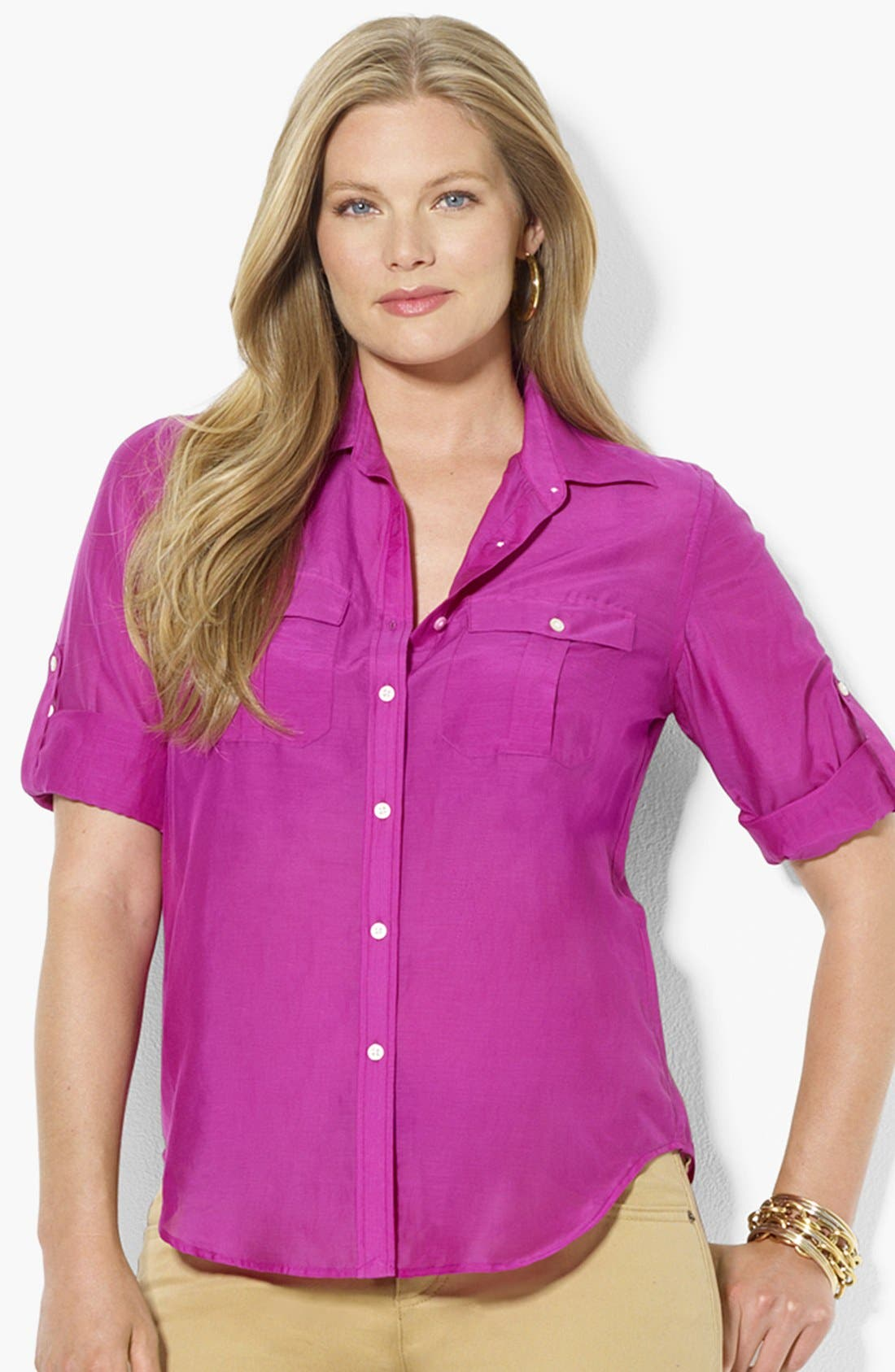 Alternate Image 1 Selected - Lauren Ralph Lauren Cotton & Silk Work Shirt (Plus Size)