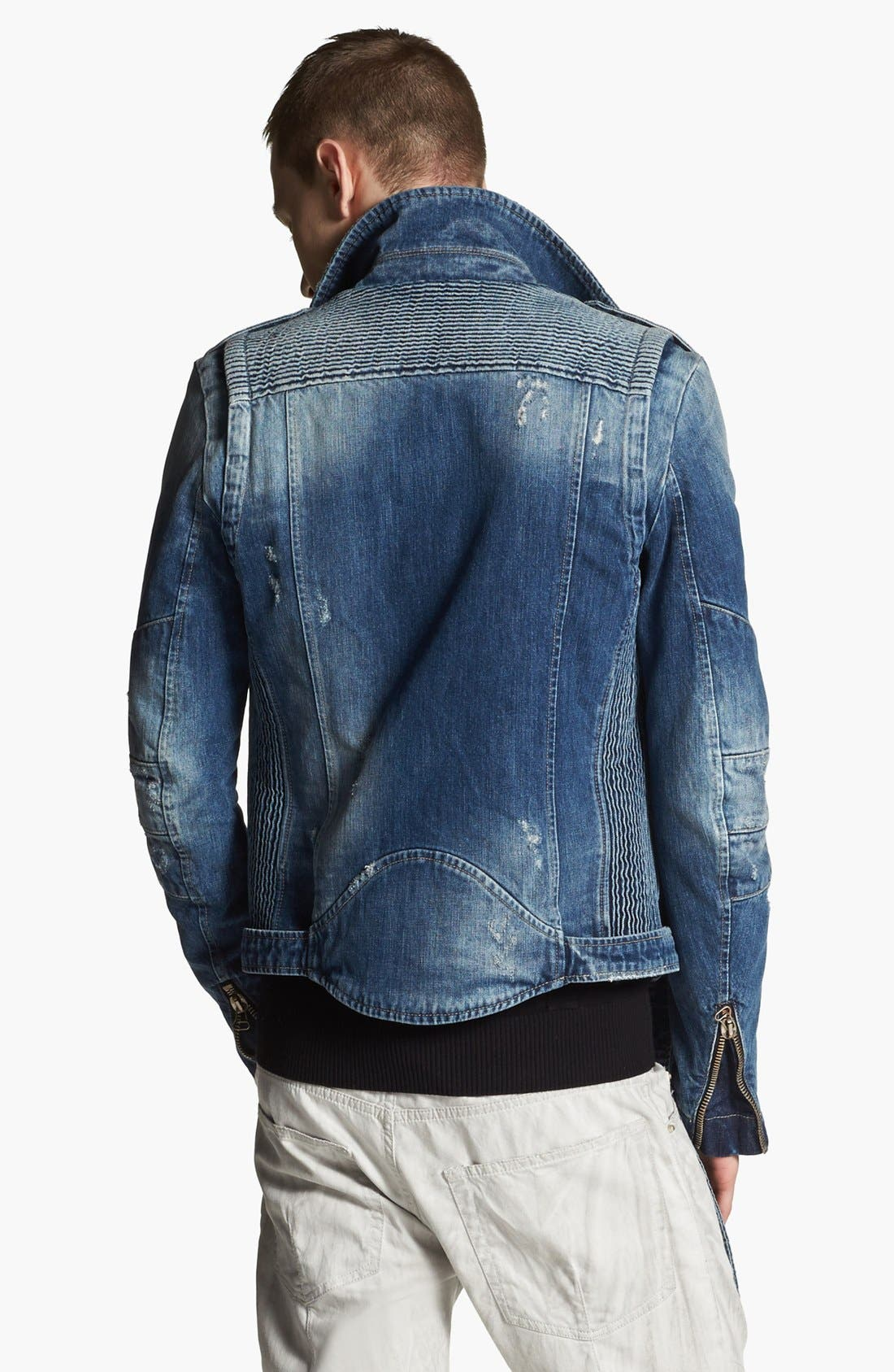 Alternate Image 2  - Pierre Balmain Denim Moto Jacket (Online Only)