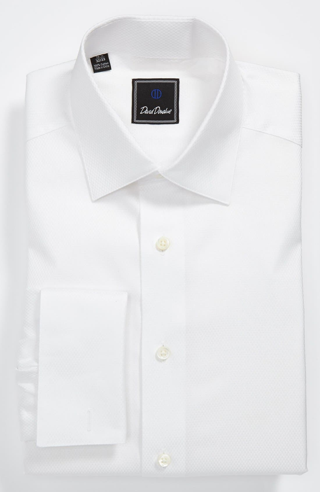 David Donahue Regular Fit Solid French Cuff Tuxedo Shirt