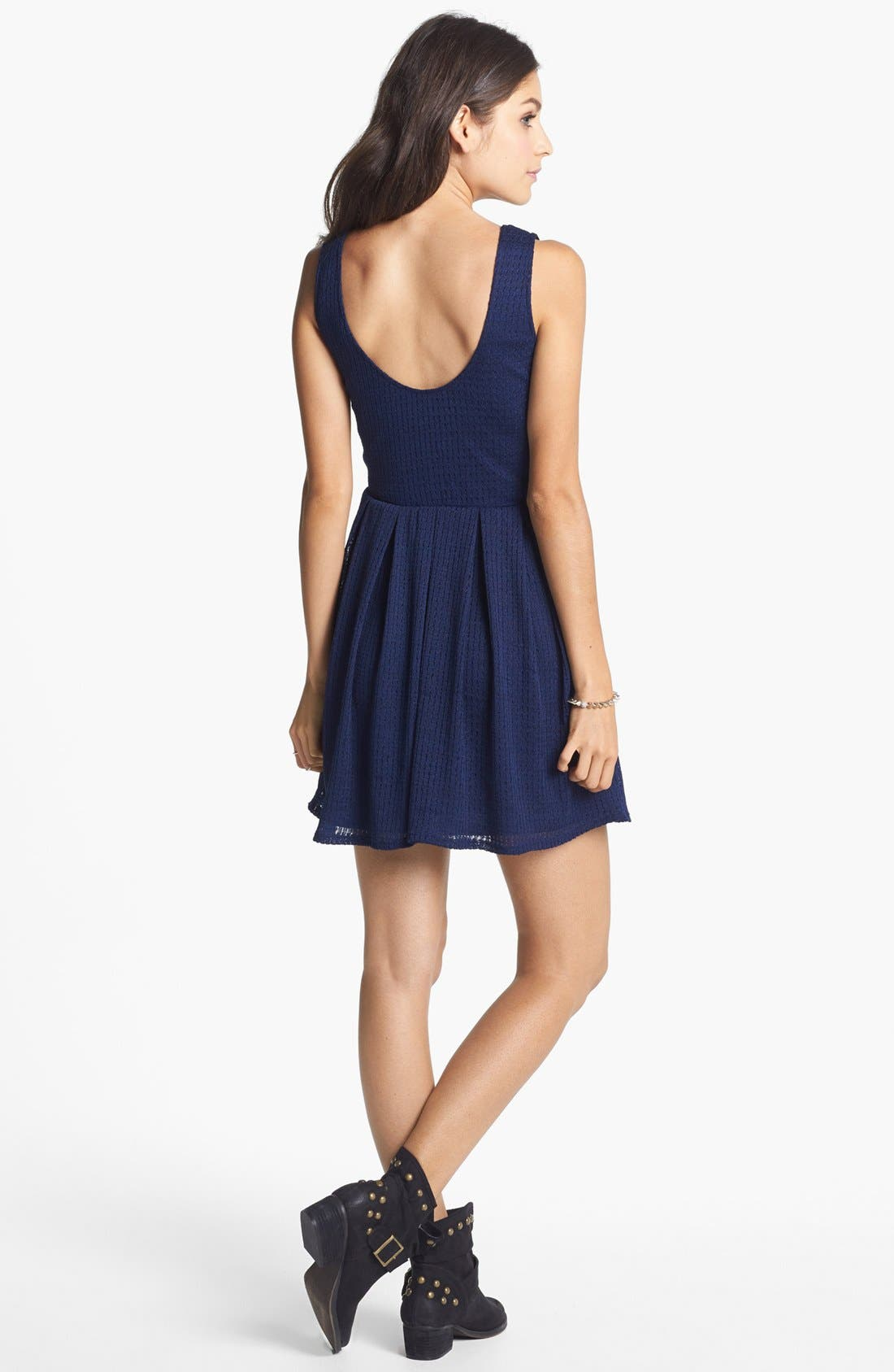 Alternate Image 2  - Mimi Chica Pointelle Fit & Flare Dress (Juniors) (Online Only)