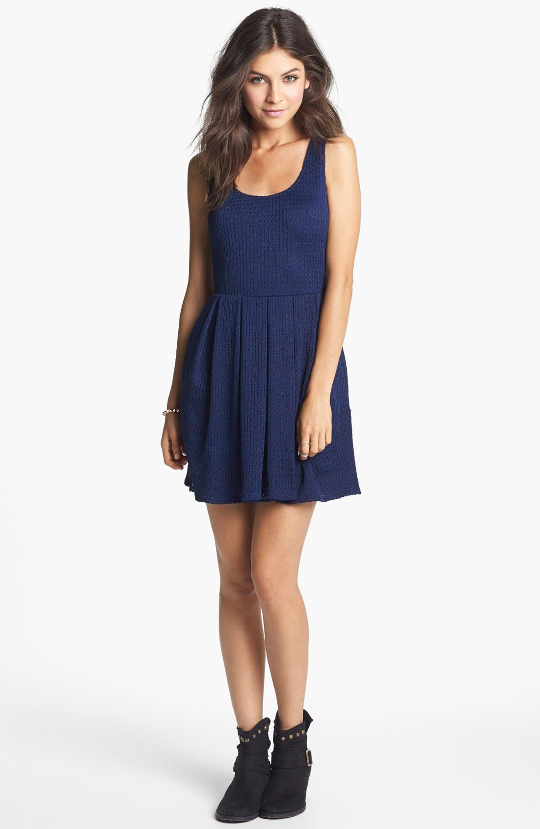 Main Image - Mimi Chica Pointelle Fit & Flare Dress (Juniors) (Online Only)