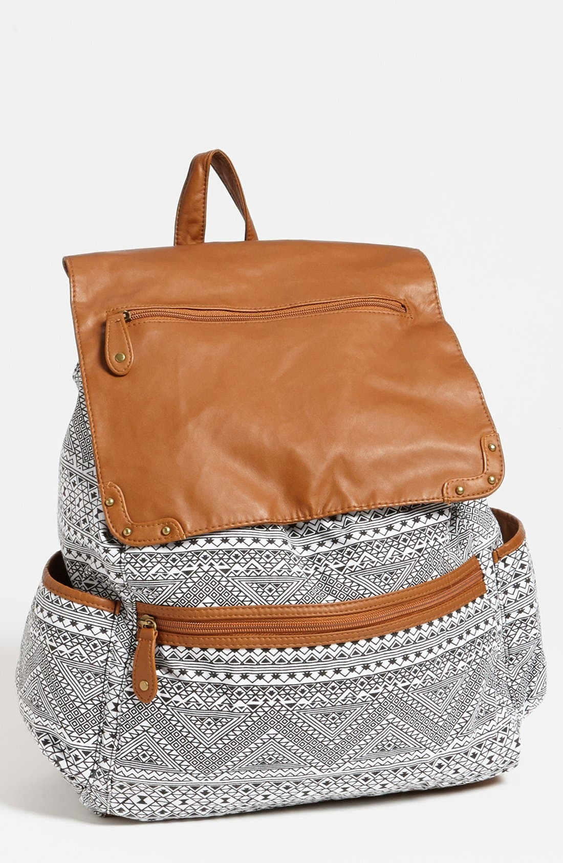 Alternate Image 1 Selected - Lulu Faux Leather Flap Print Backpack (Juniors)