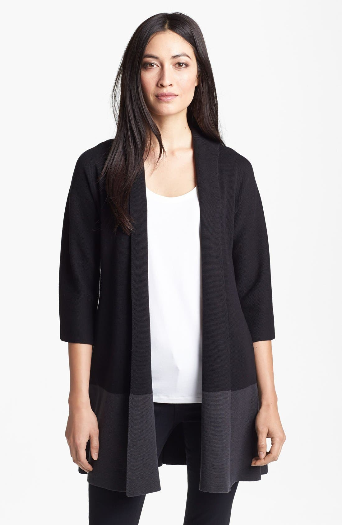 Alternate Image 1 Selected - Eileen Fisher Colorblock Silk & Cotton Jacket