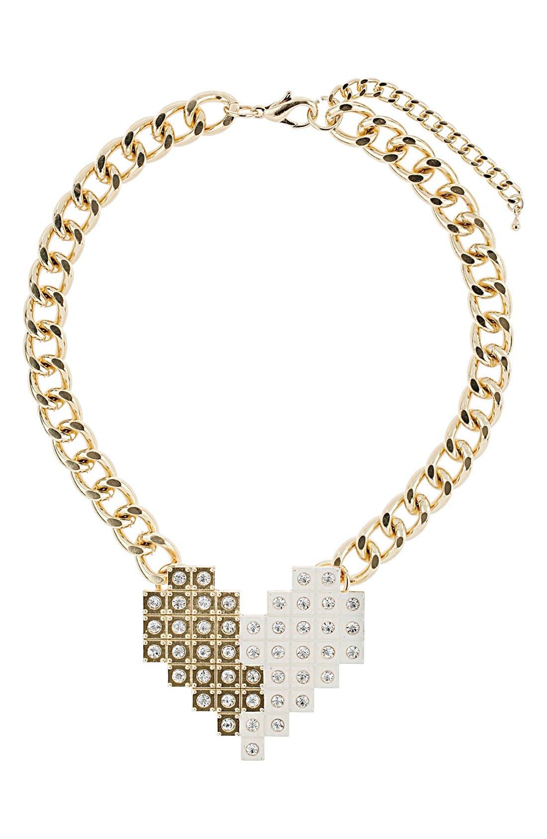 Main Image - Topshop Rhinestone Pixelated Heart Collar Necklace