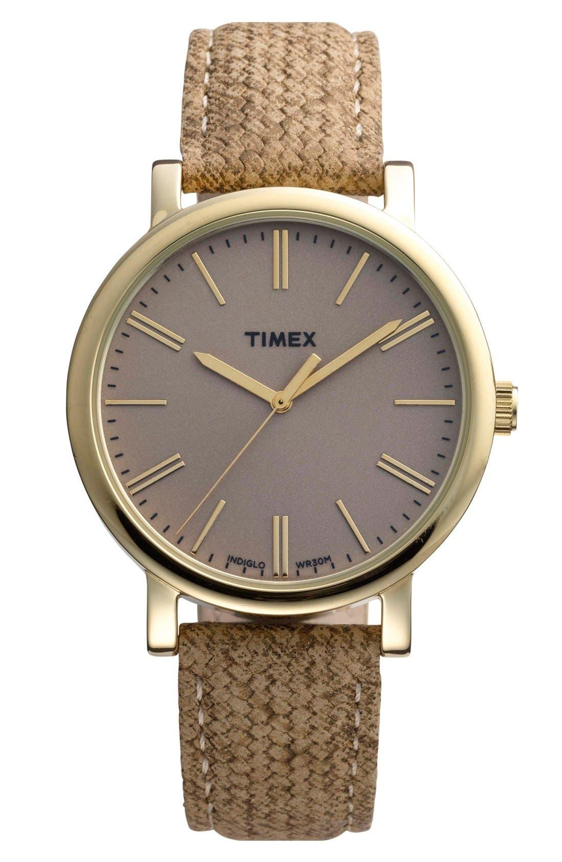Main Image - Timex® Braid Pattern Leather Strap Watch, 38mm