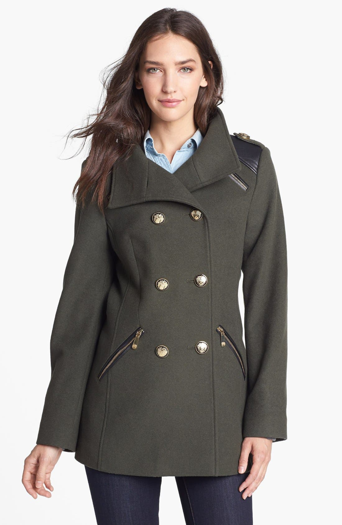 Alternate Image 1 Selected - Vince Camuto Wool Blend Military Peacoat