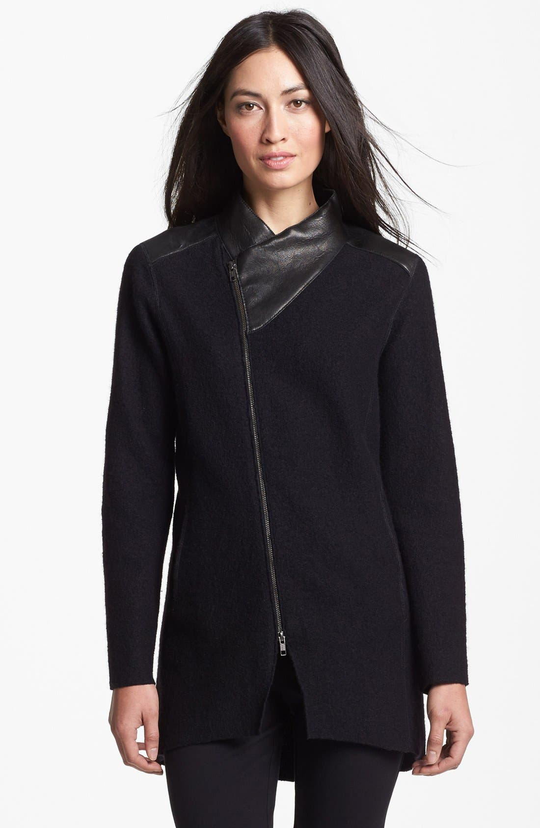 Main Image - Eileen Fisher Leather Trim Boiled Wool Jacket