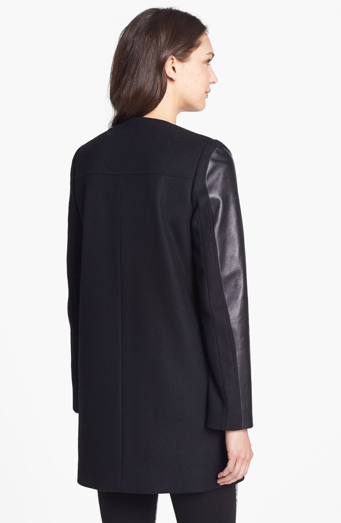 Alternate Image 2  - French Connection Collarless Leather Sleeve Coat