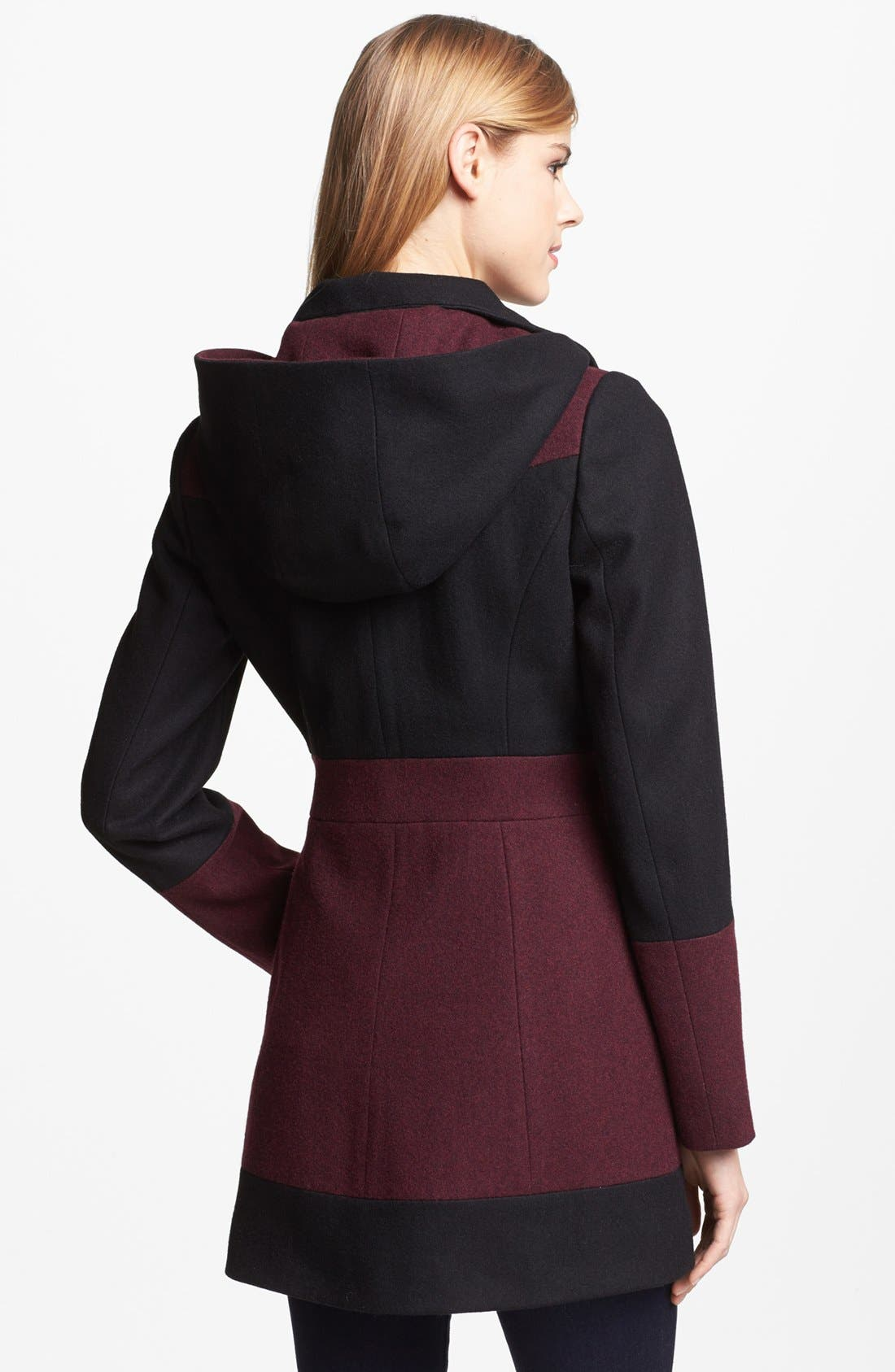 Alternate Image 2  - GUESS Two Tone Wool Blend Coat (Online Only)