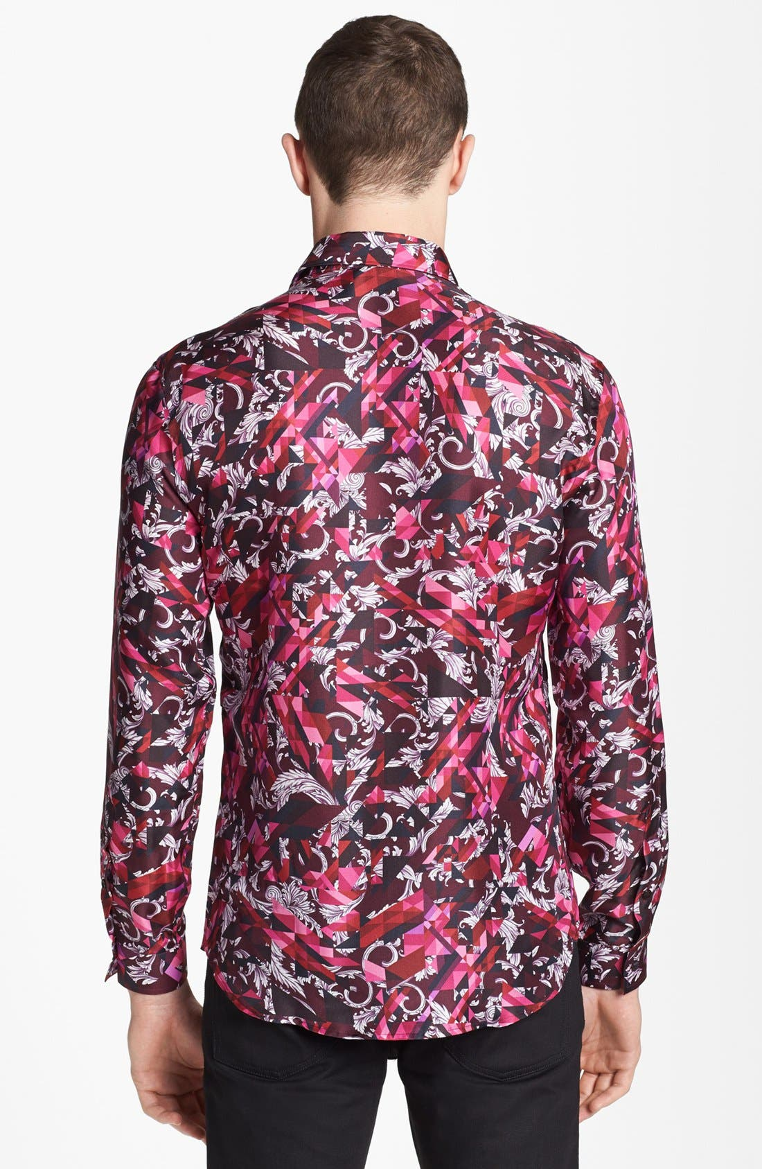 Alternate Image 2  - Versace Allover Geometric Print Woven Silk Shirt