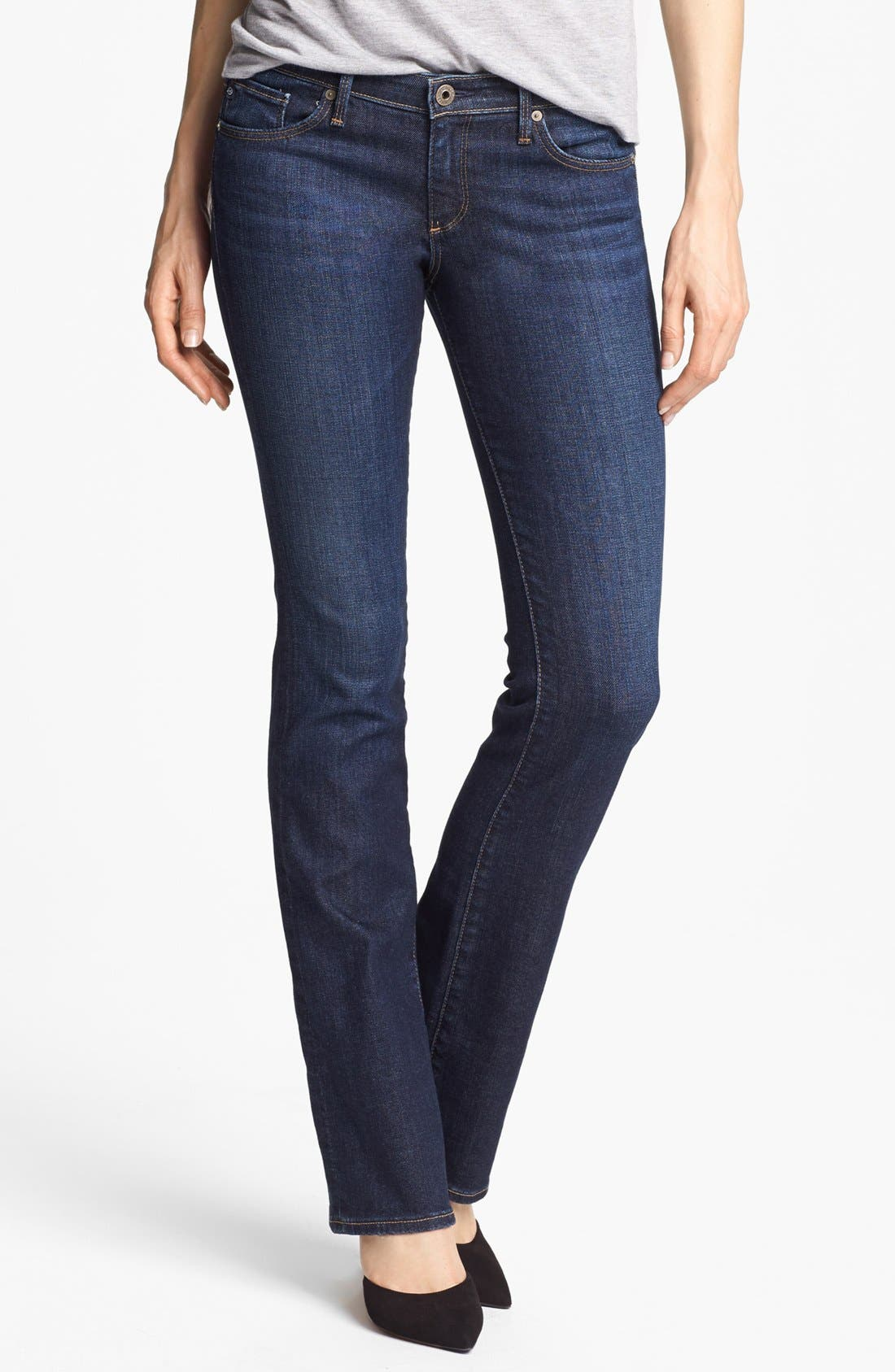 Main Image - AG 'Olivia' Skinny Bootcut Jeans (Crest Blue)