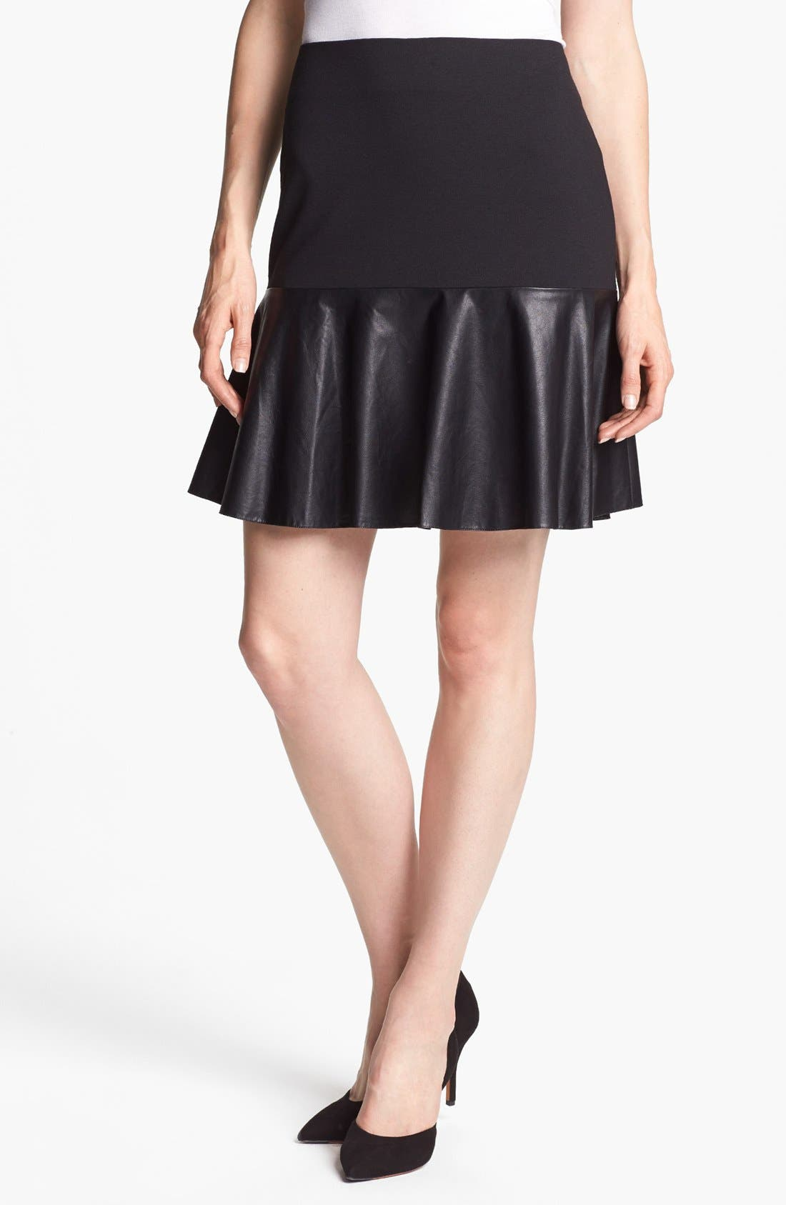 Alternate Image 2  - Halogen® Faux Leather & Ponte Flared Skirt