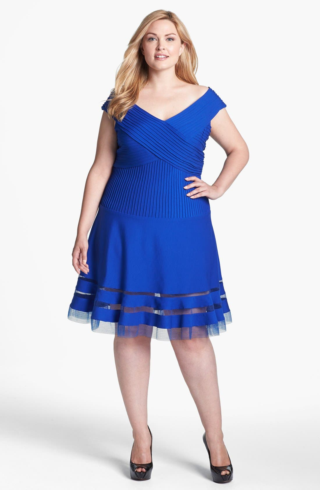 Alternate Image 1 Selected - Tadashi Shoji V-Neck Tulle Hem Fit & Flare Dress (Plus Size)
