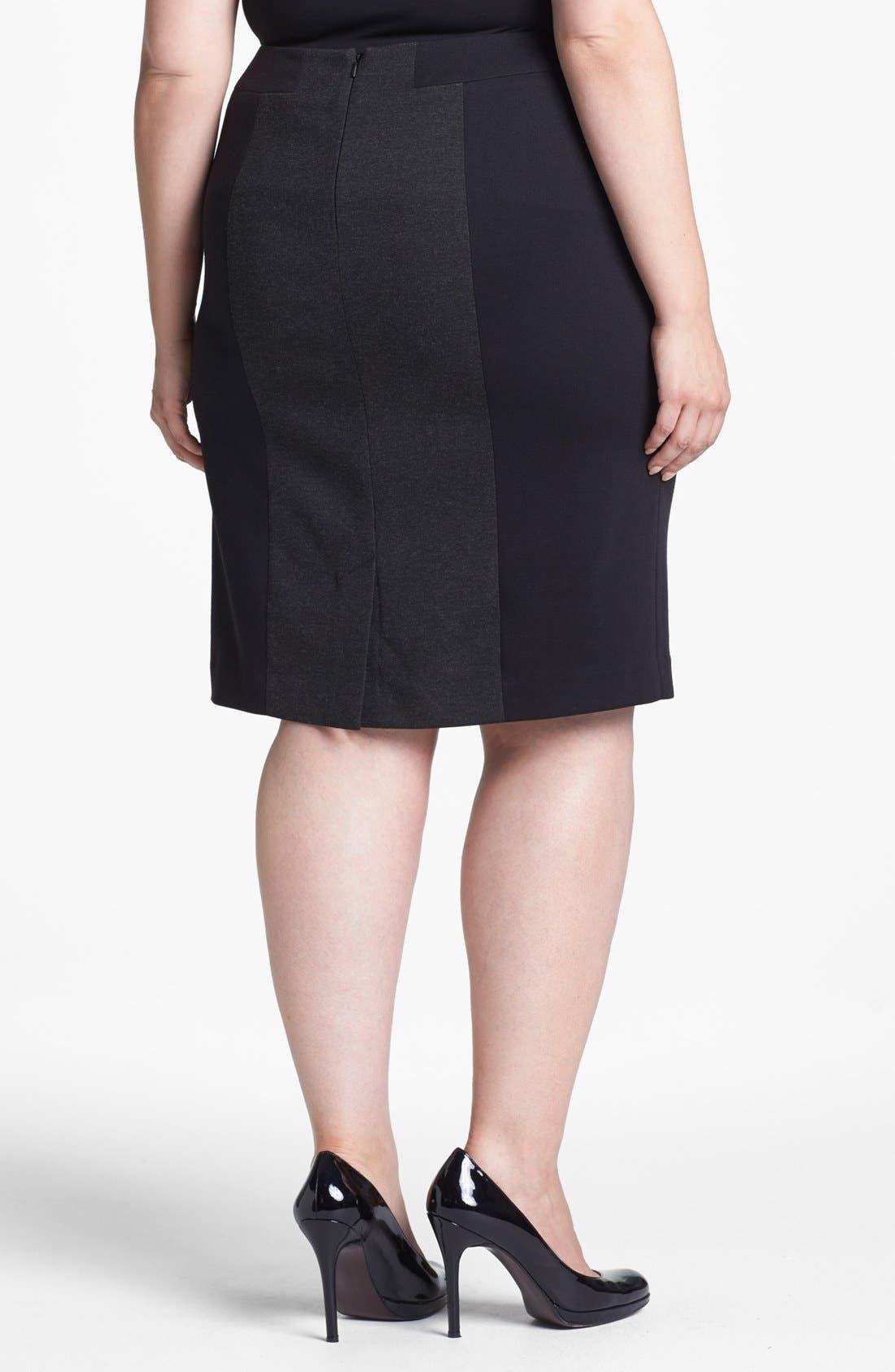 Alternate Image 2  - Sejour Colorblock Ponte Knit Pencil Skirt (Plus Size)