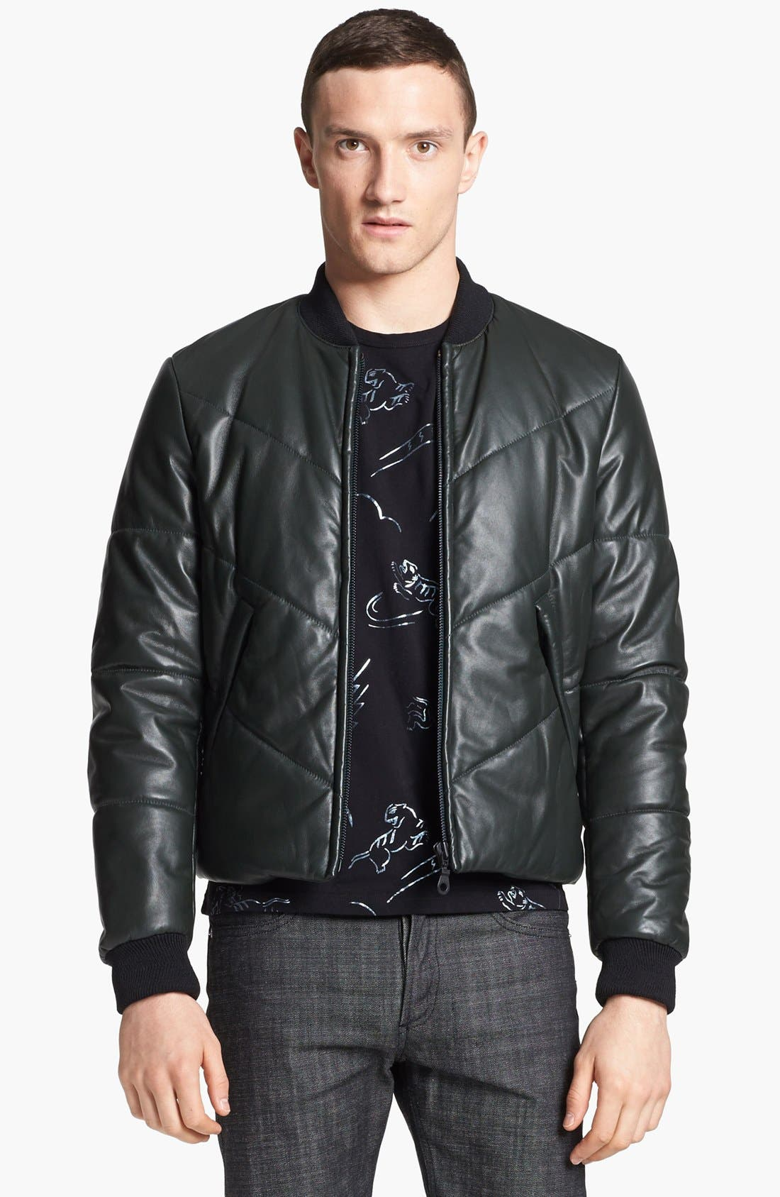 Alternate Image 1 Selected - KENZO Quilted Leather Bomber Jacket