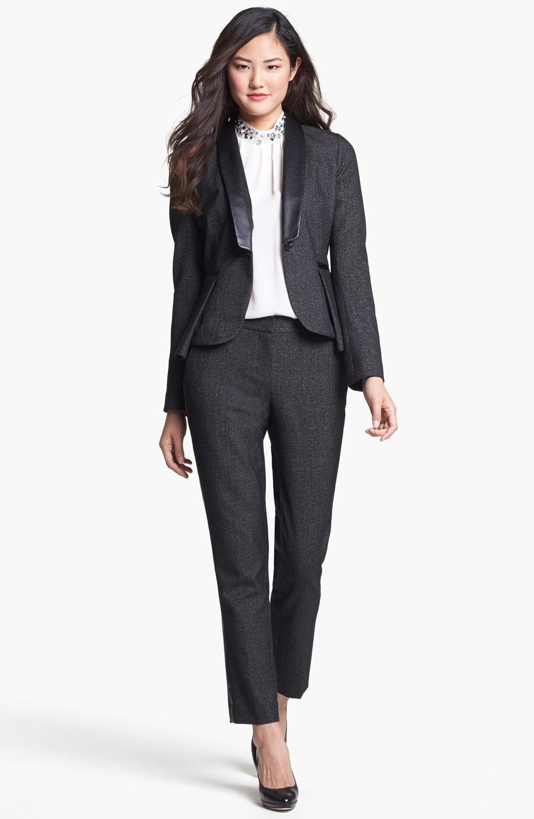 Alternate Image 3  - Vince Camuto Faux Leather Tuxedo Stripe Pants (Petite)