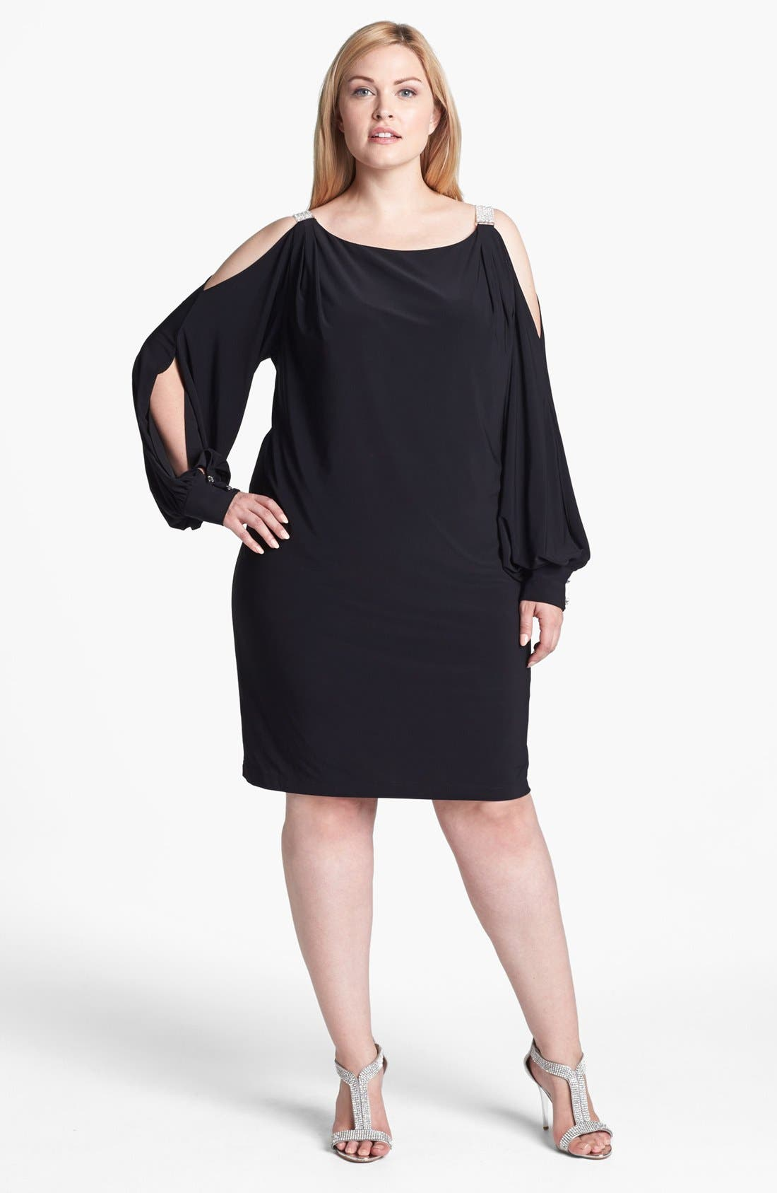 Main Image - Xscape Embellished Cold Shoulder Jersey Dress (Plus Size)