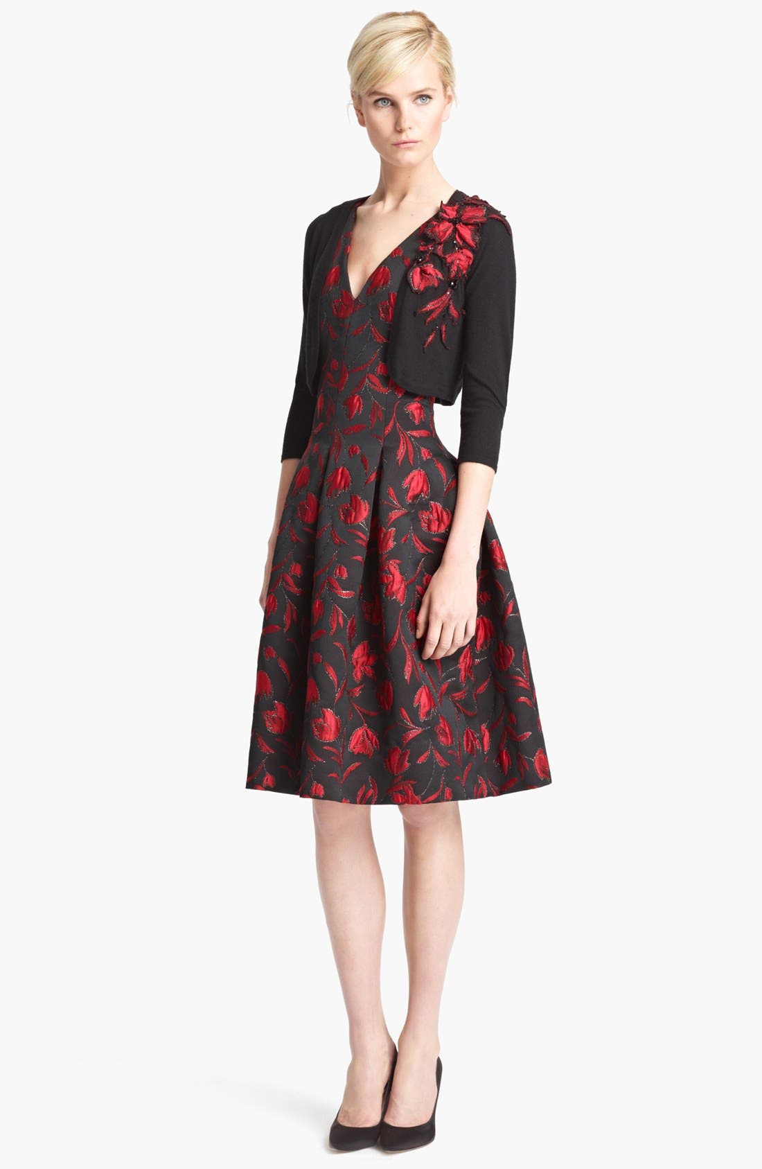 Alternate Image 2  - Oscar de la Renta Floral Embroidered Bolero