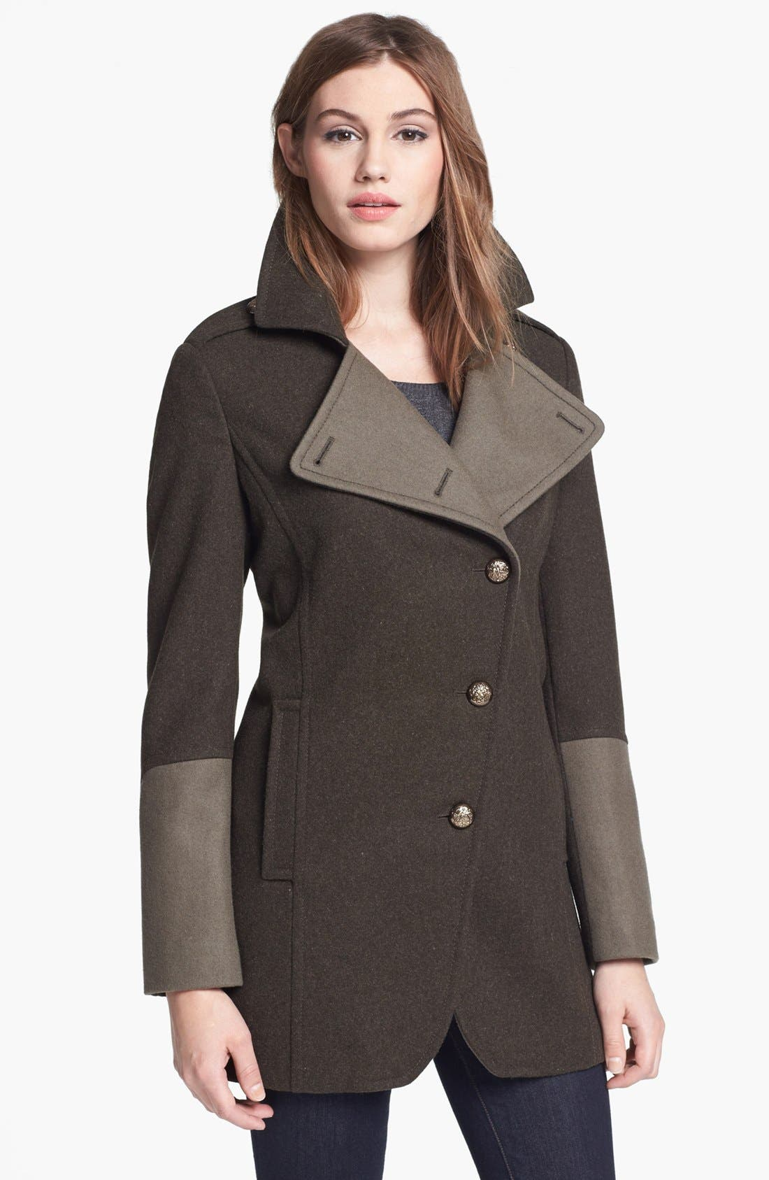 Main Image - Kenneth Cole New York Asymmetrical Wool Blend Military Coat