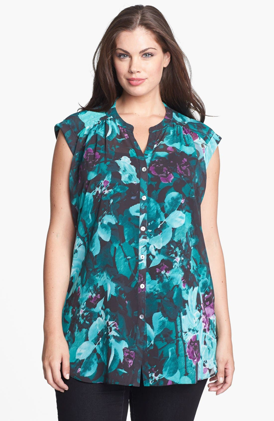 Alternate Image 1 Selected - Evans Print High/Low Blouse (Plus Size)