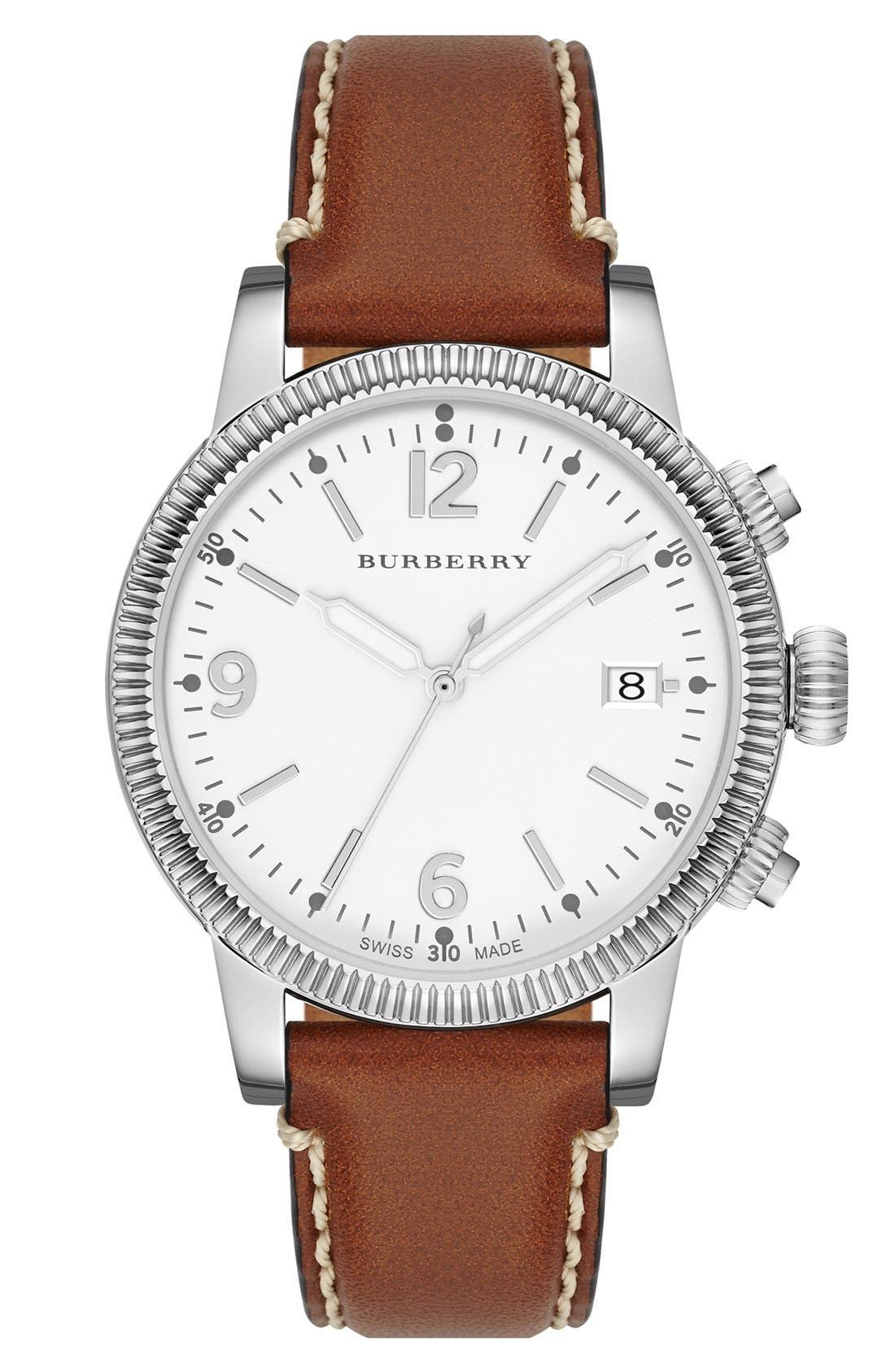 Alternate Image 1 Selected - Burberry Round Leather Strap Watch, 38mm