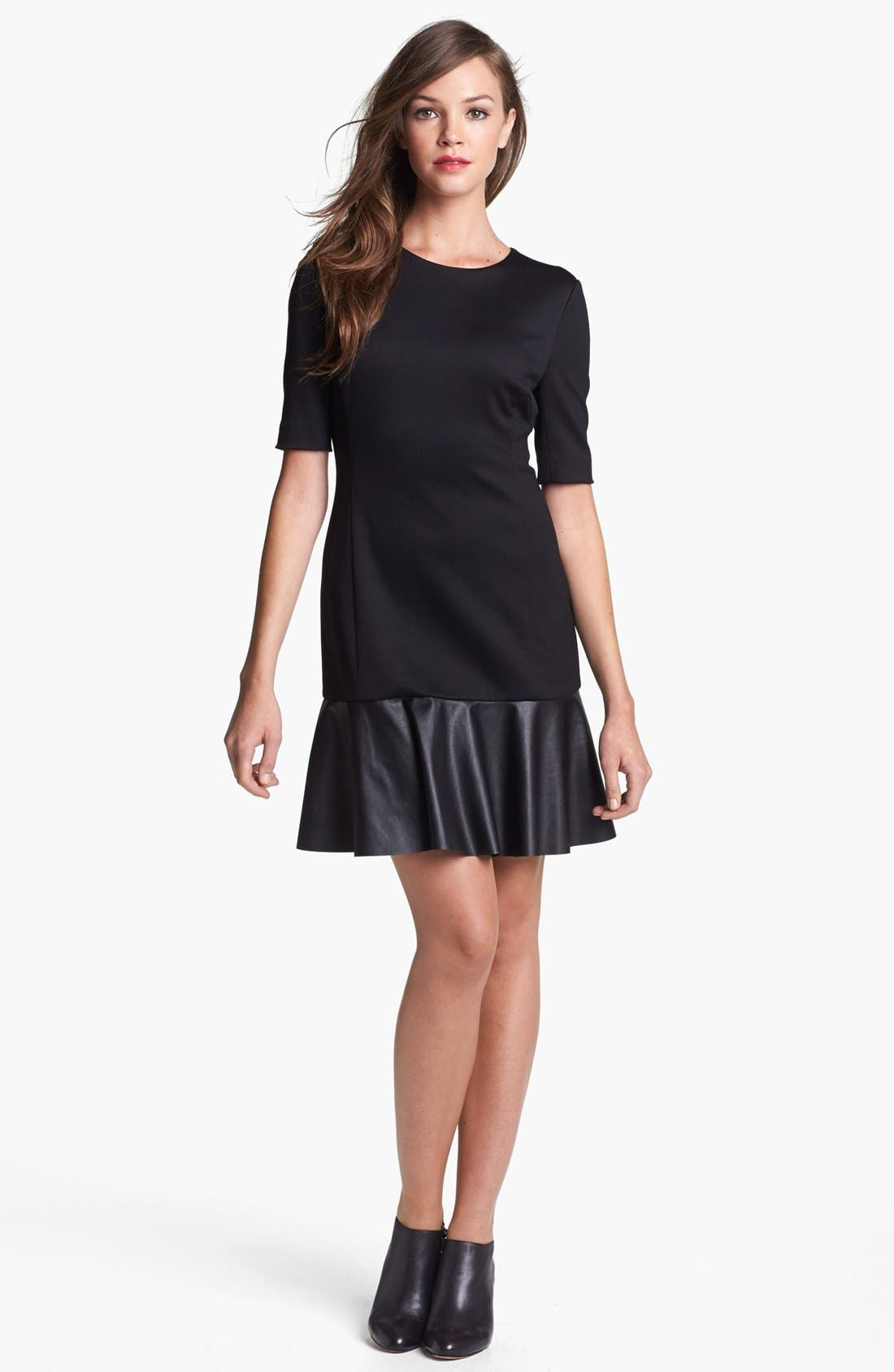 Alternate Image 1 Selected - Cynthia Steffe Faux Leather Detail Drop Waist Dress (Online Only)