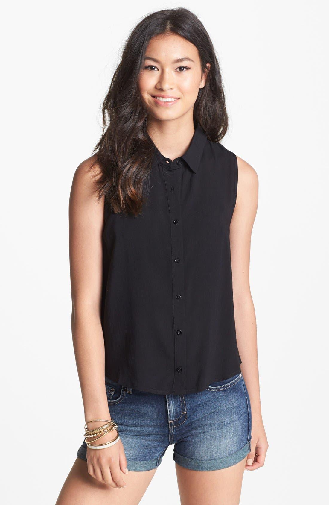 Alternate Image 2  - Elodie Chevron Trim Cutout Sleeveless Shirt (Juniors)