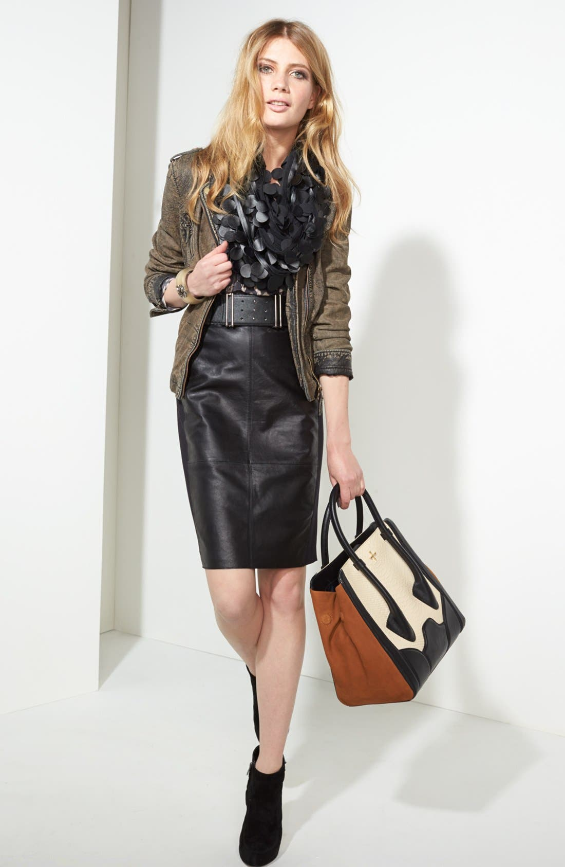 Alternate Image 6  - Pour la Victoire 'Butler - Large' Snake Embossed Leather & Suede Tote