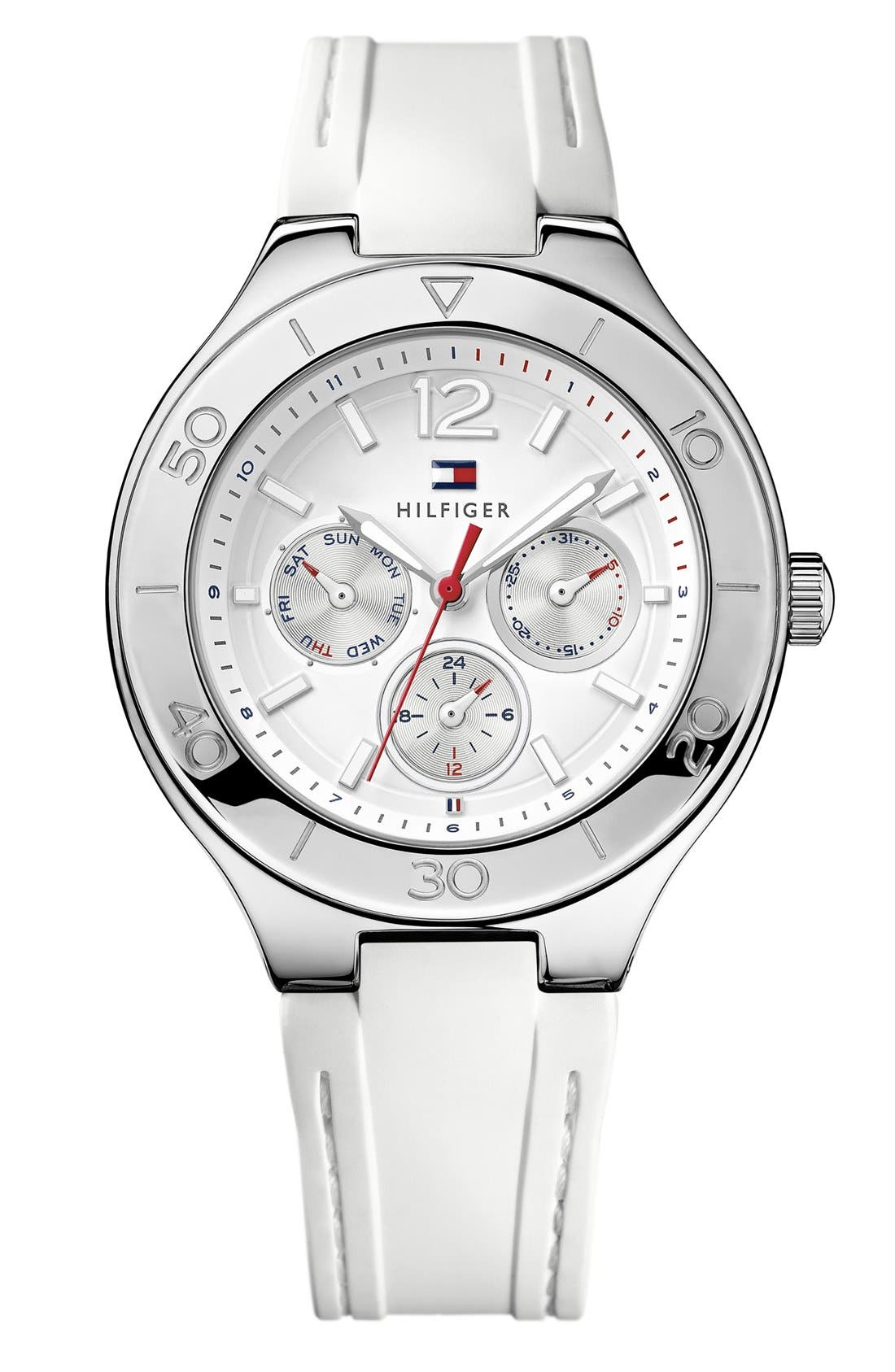 Main Image - Tommy Hilfiger Round Multifunction Silicone Strap Watch, 40mm